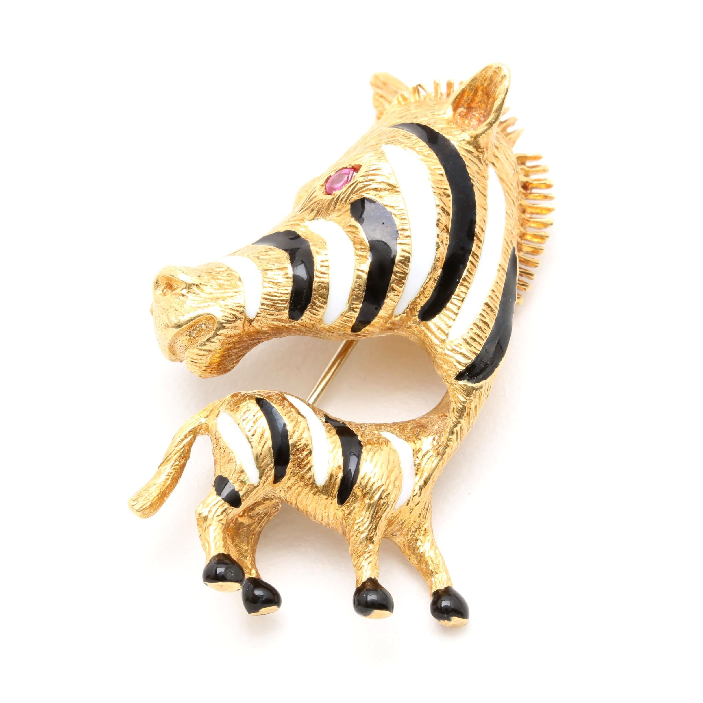 14K Yellow Gold Ruby and Enameled Zebra Brooch