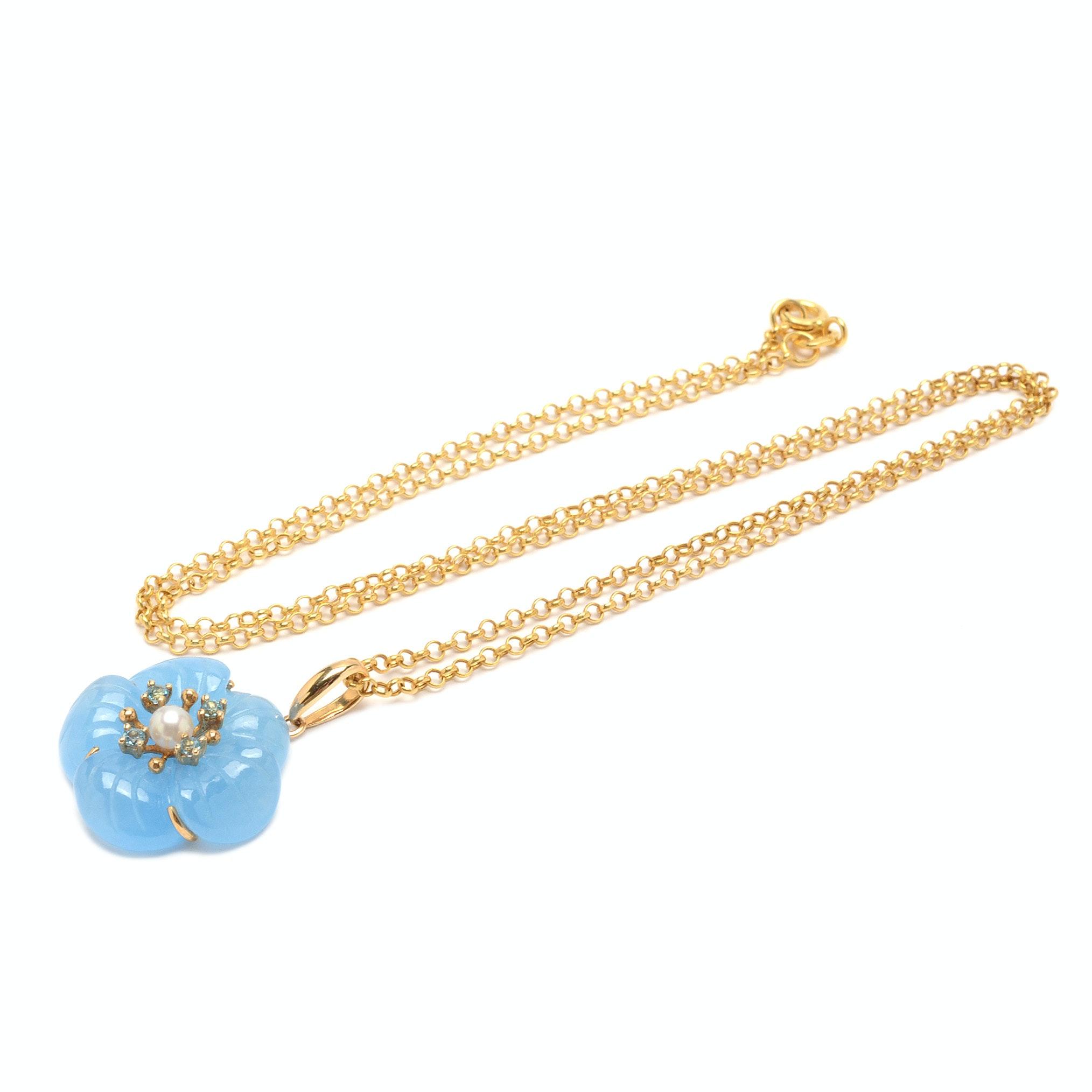 14K Yellow Gold Gemstone Flower Pendant Necklace