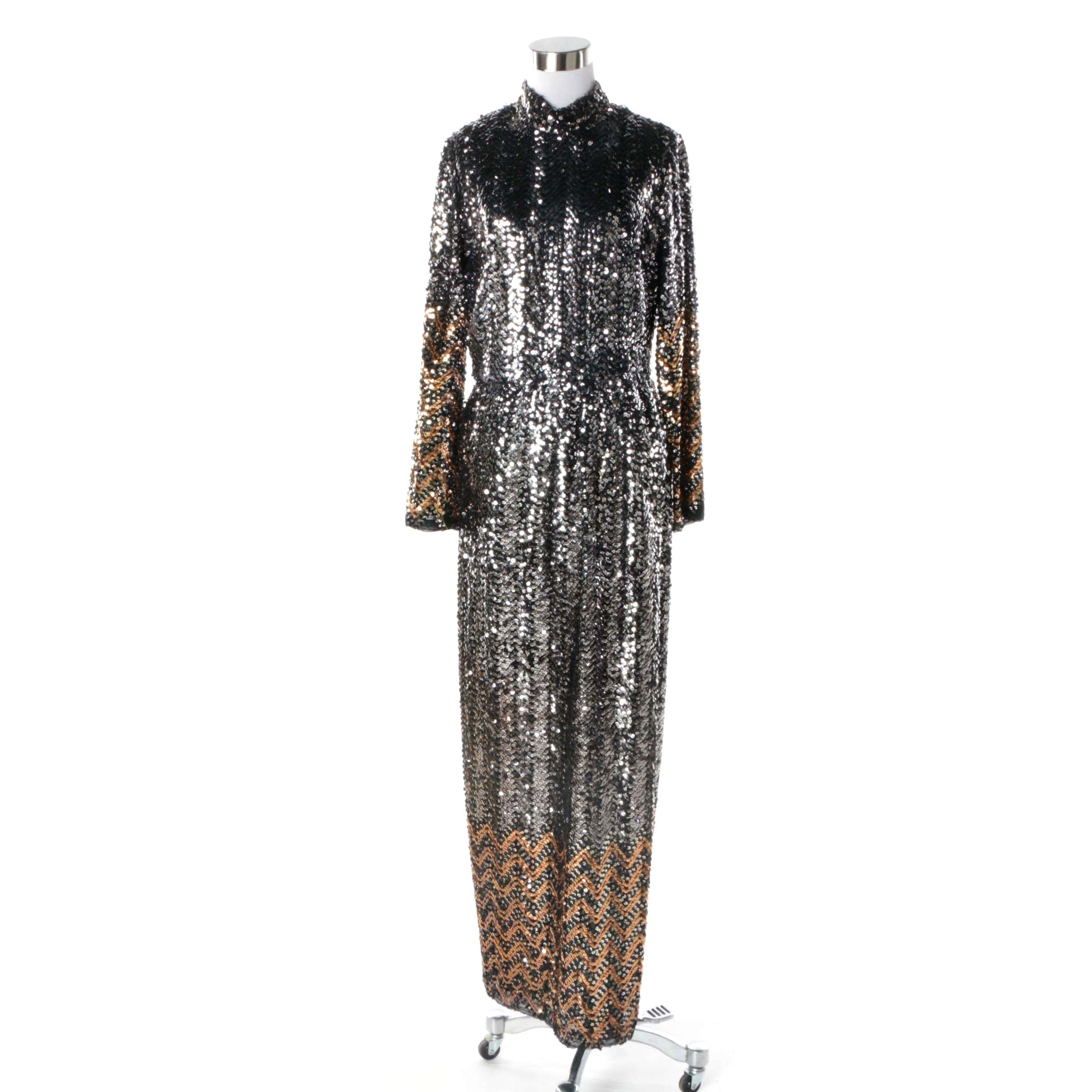 1970s Vintage Silver and Gold Fully Sequined Maxi Evening Dress