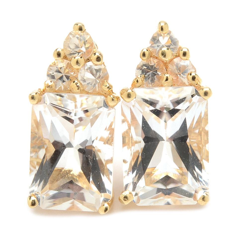 14K Yellow Gold White Topaz Earrings