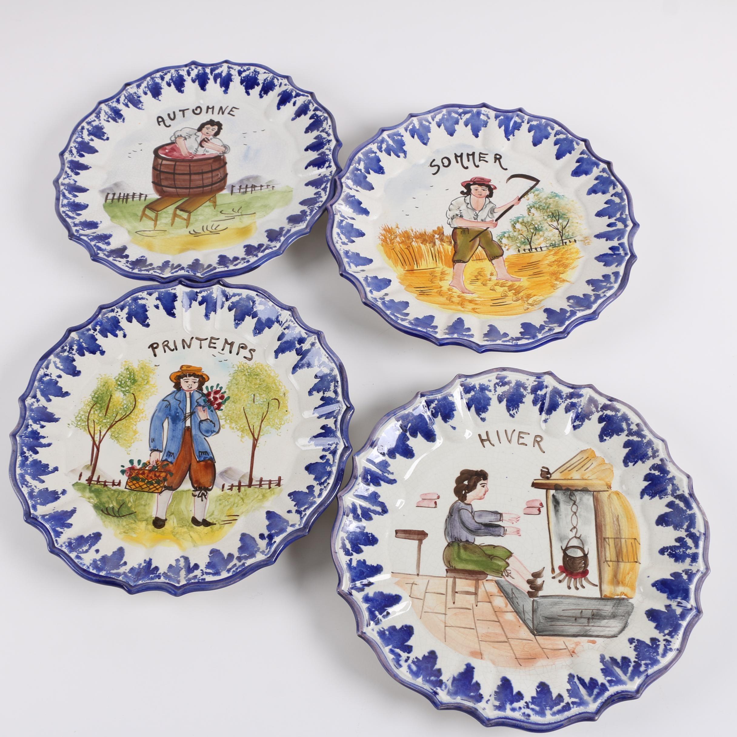 Italian Hand-Painted  Vecchia Bassano Ceramic Plates of the Four Seasons