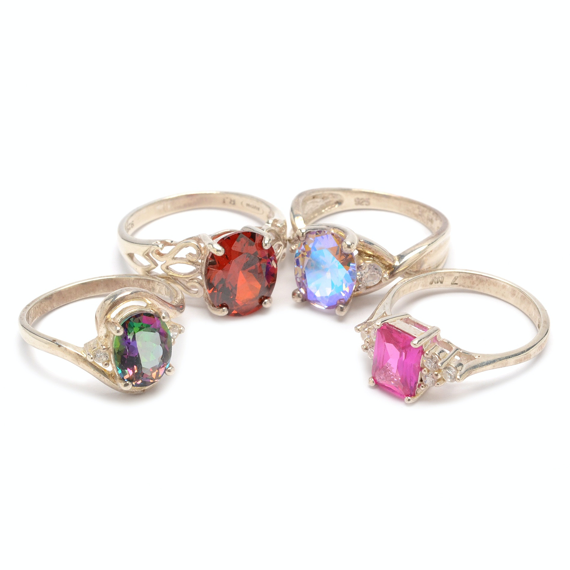 Sterling Silver Gemstone Rings, Including Garnet