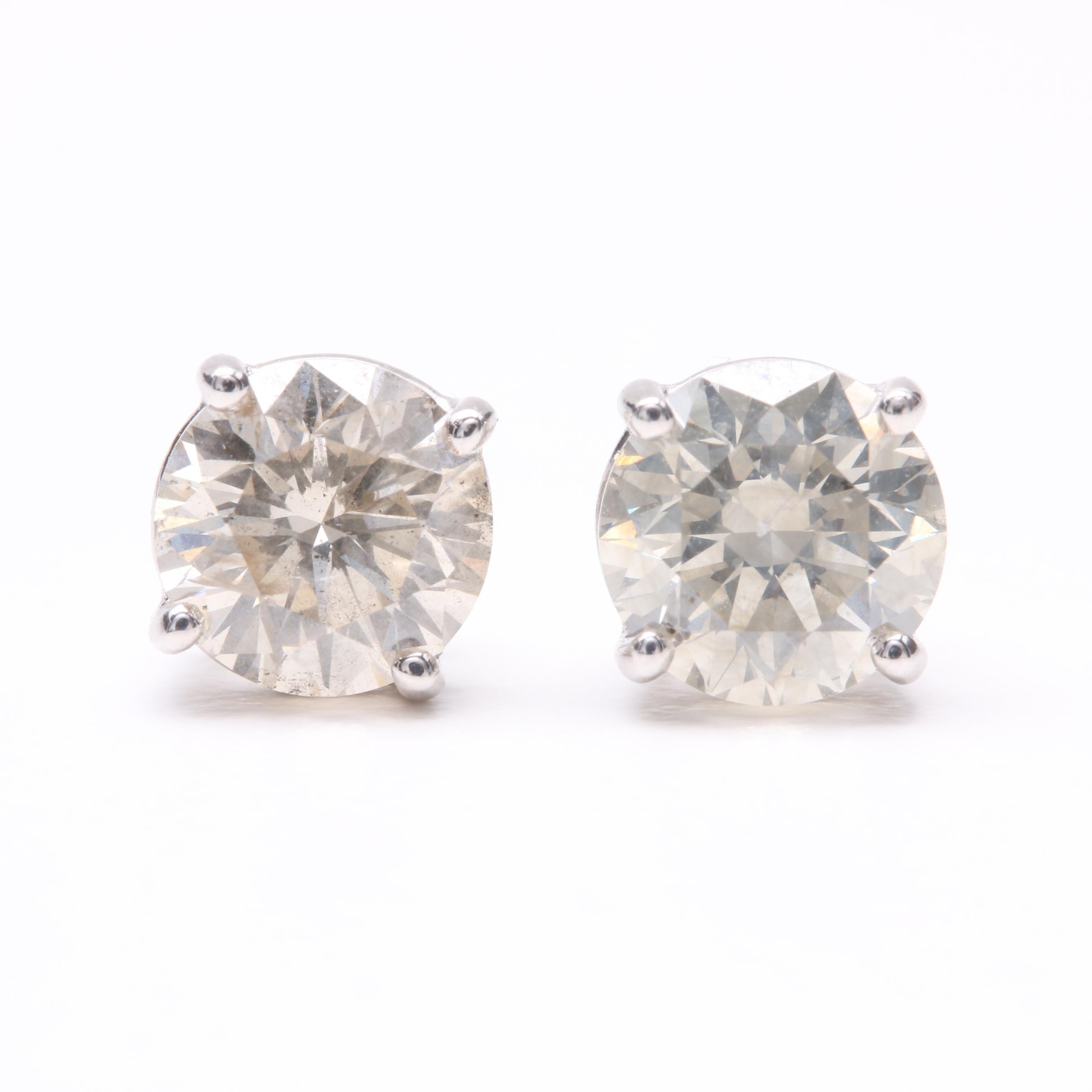 18K White Gold 2.18 CTW Diamond Stud Earrings