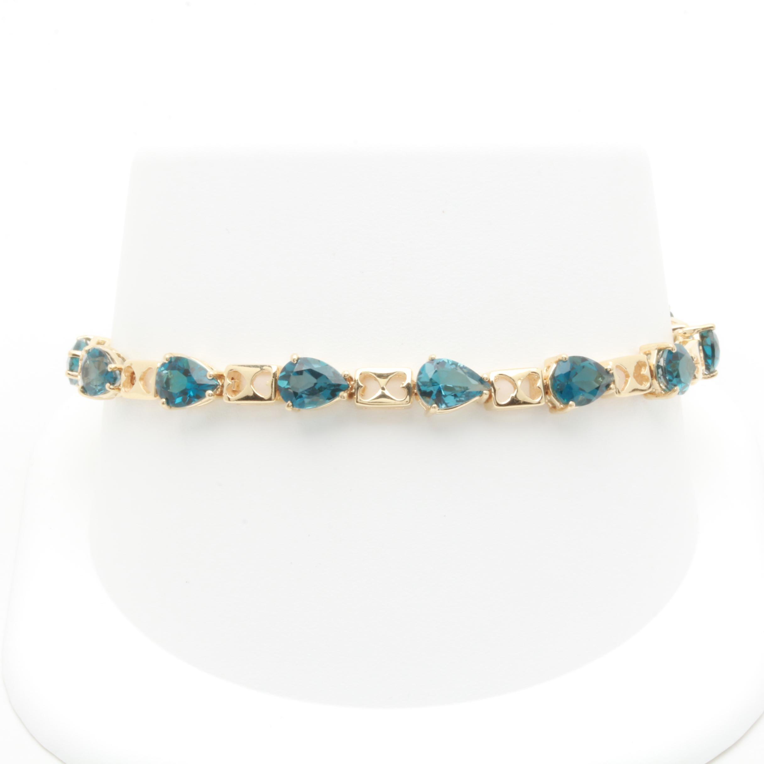 14K Yellow Gold Blue Topaz Bracelet