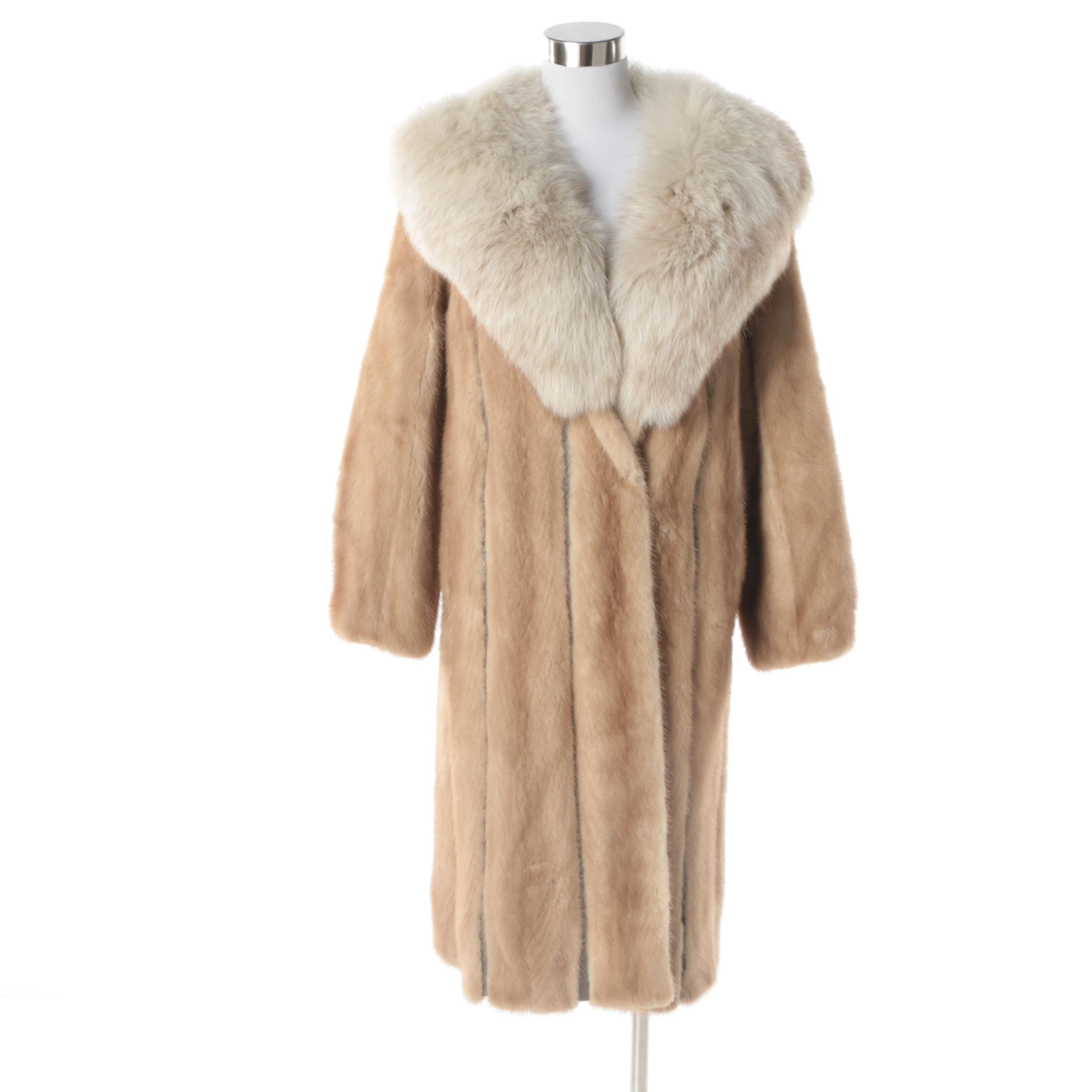 1970s Vintage Oleg Cassini Mink Fur and Leather Coat with Fox Fur Collar