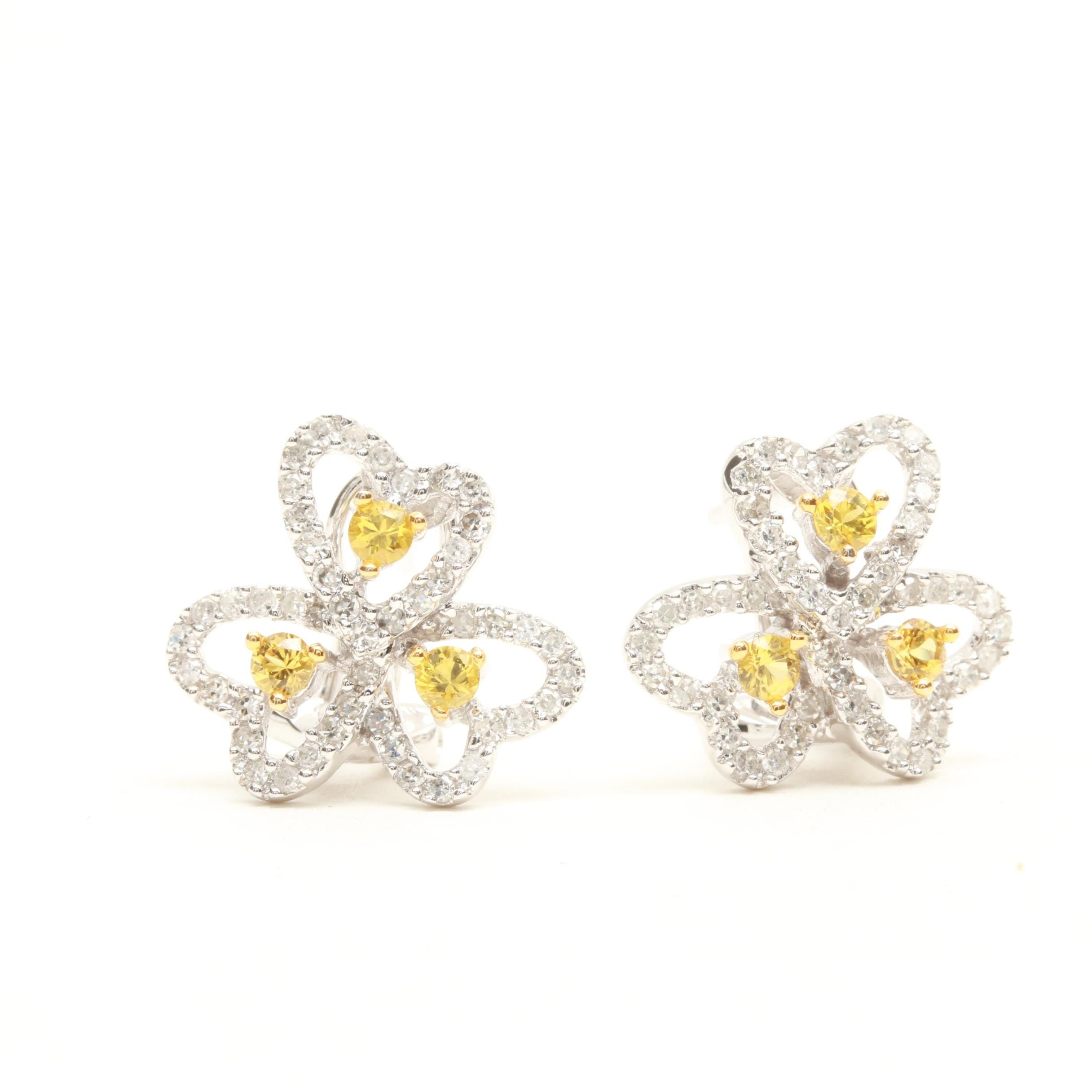 14K White Gold Yellow Sapphire and Diamond Triple Heart Omega Back Earrings