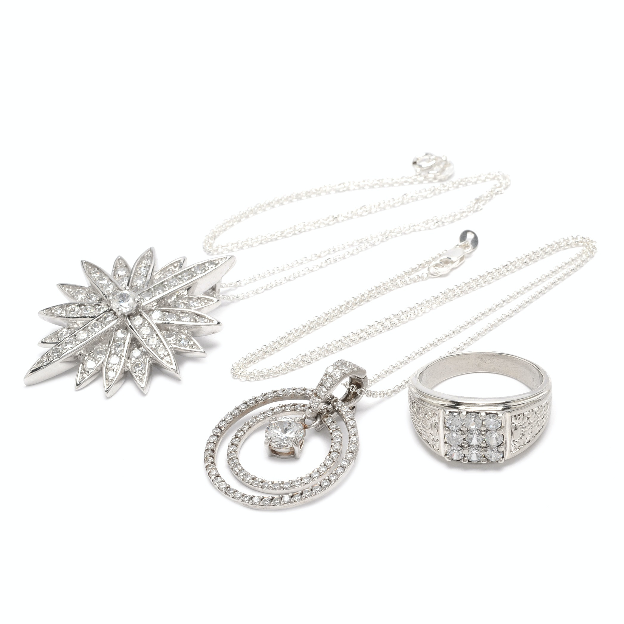 Sterling Silver Cubic Zirconia Pendant Necklaces and Ring