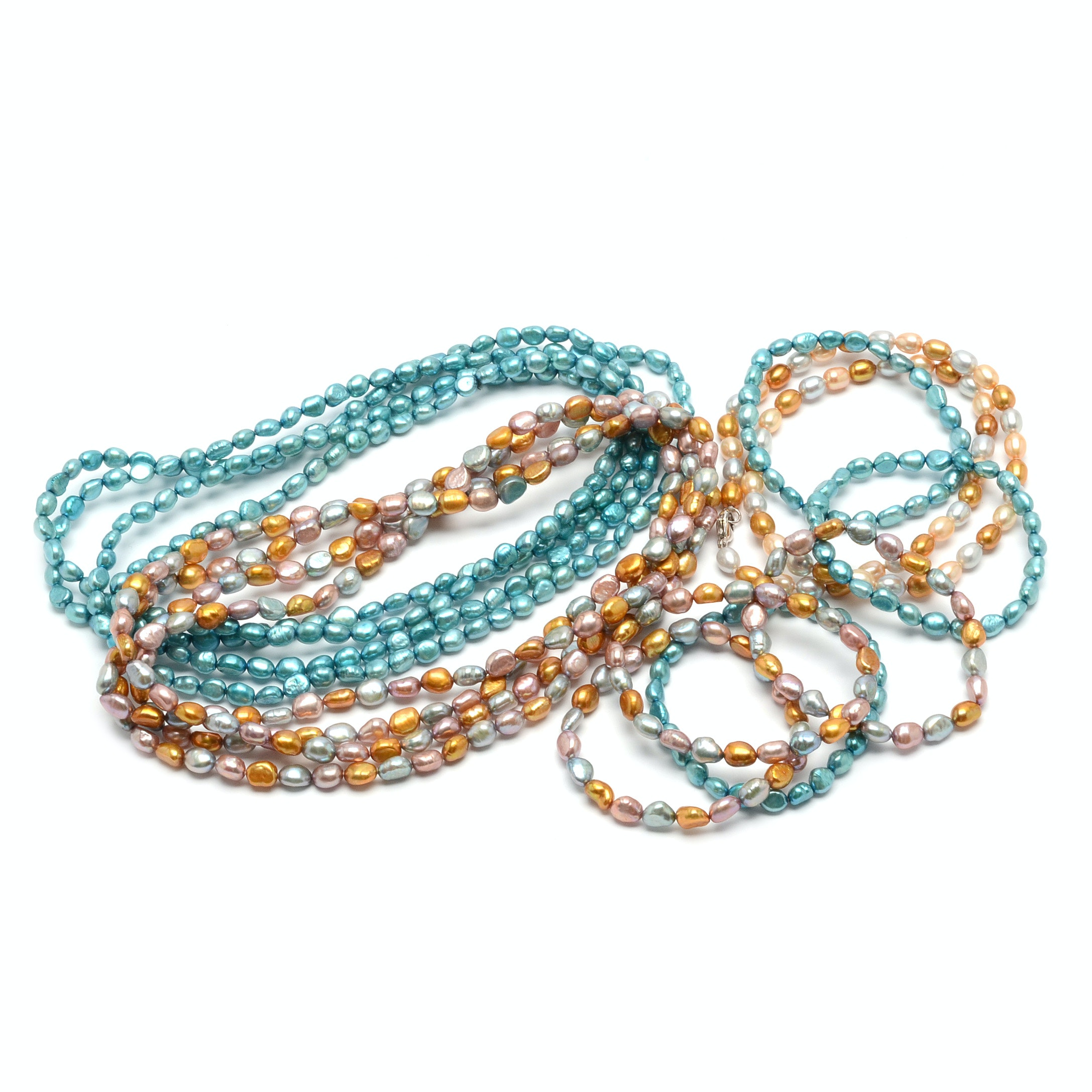 Assorted Dyed Cultured Pearl Necklaces and Bracelets, Including Honora
