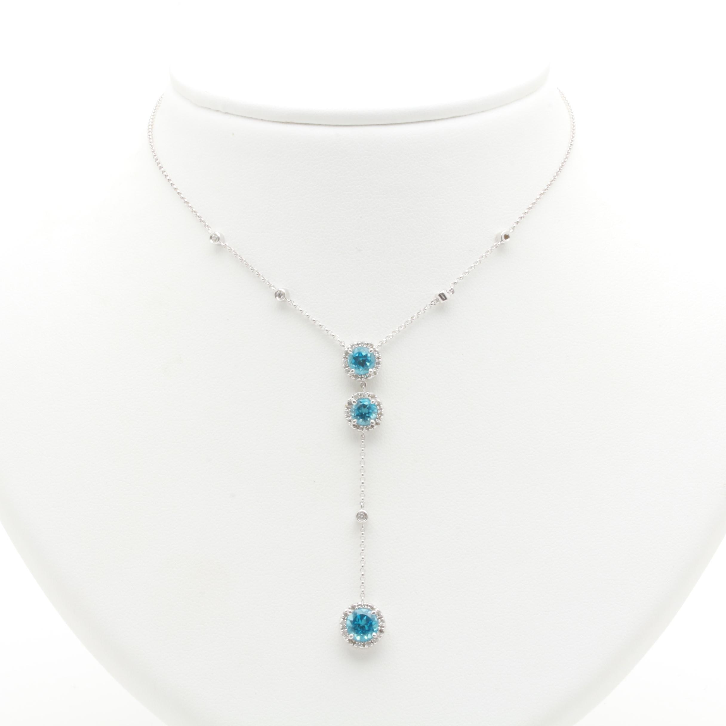 14K White Gold Blue Topaz and Diamond Necklace