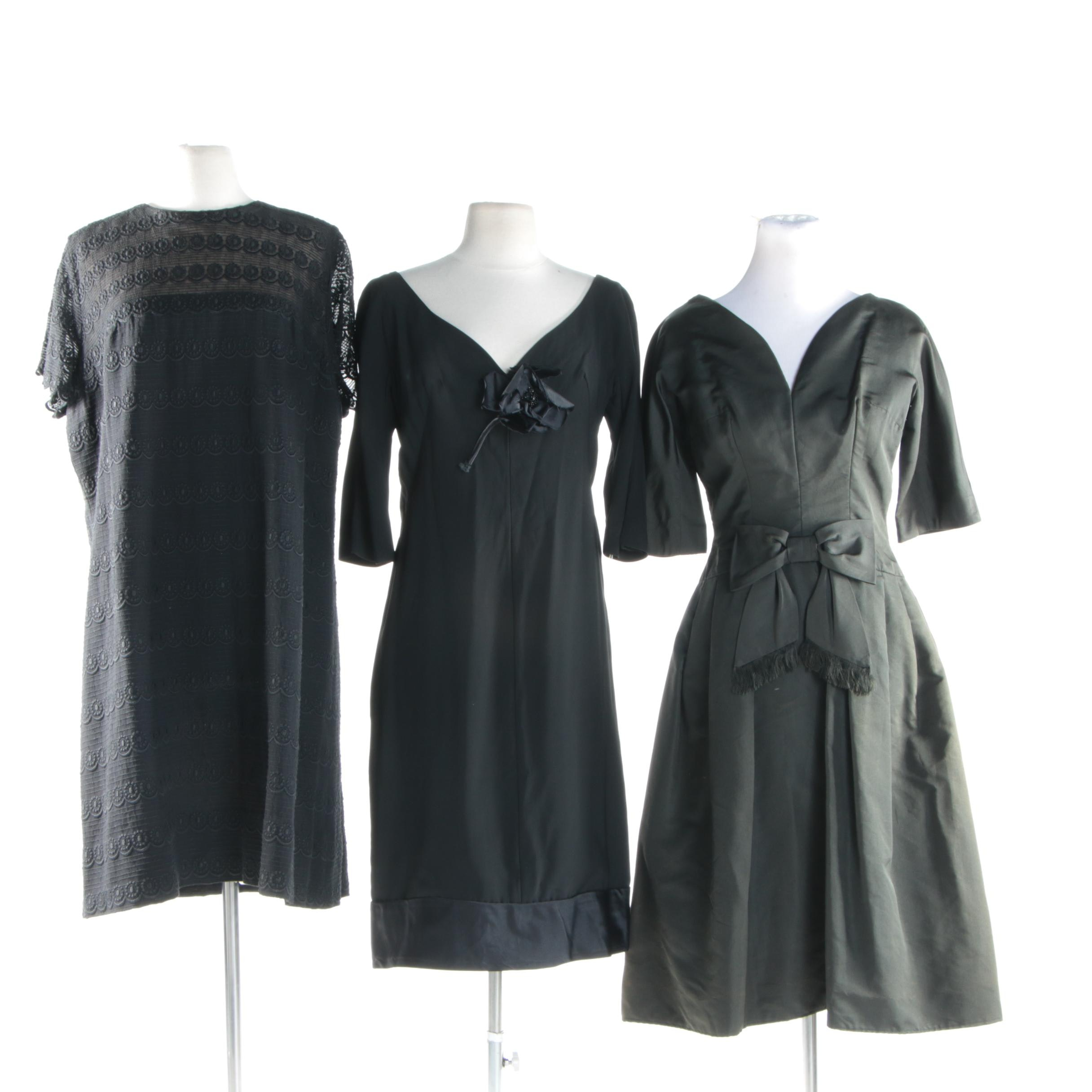 1950s and 1960s Vintage Black Cocktail Dresses Including Embroidered Details