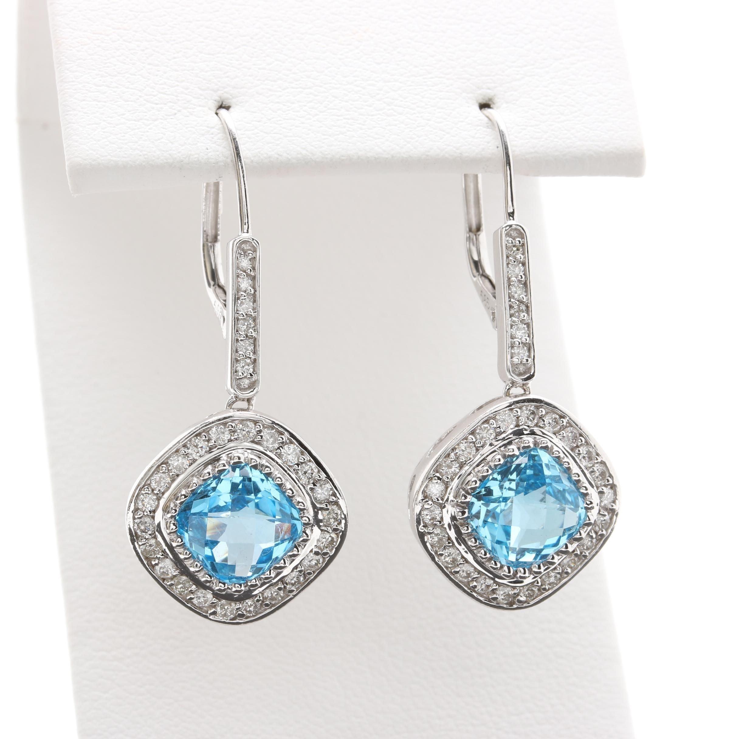 14K White Gold Topaz and Diamond Earrings