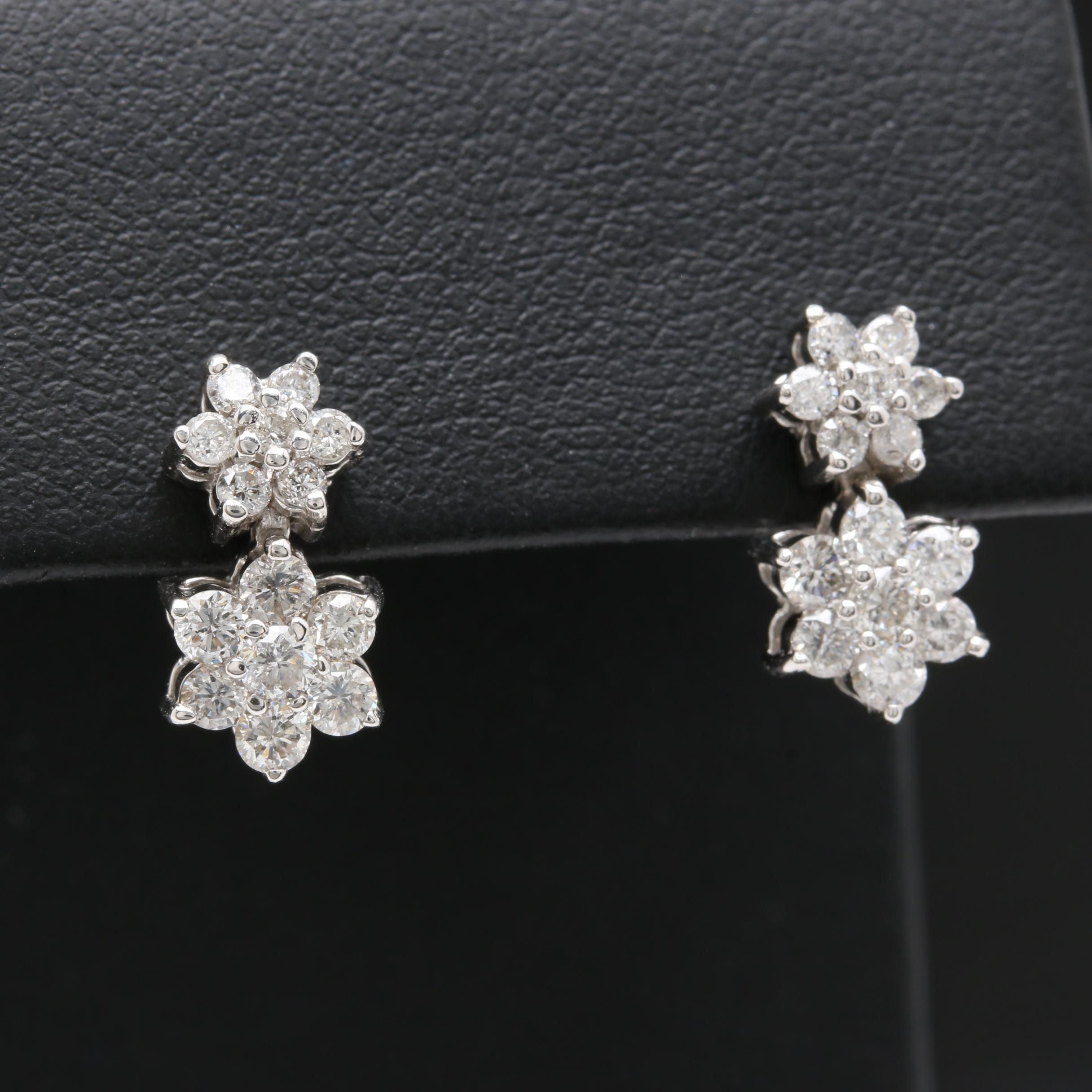 14K White Gold 0.95 CTW Diamond Earrings