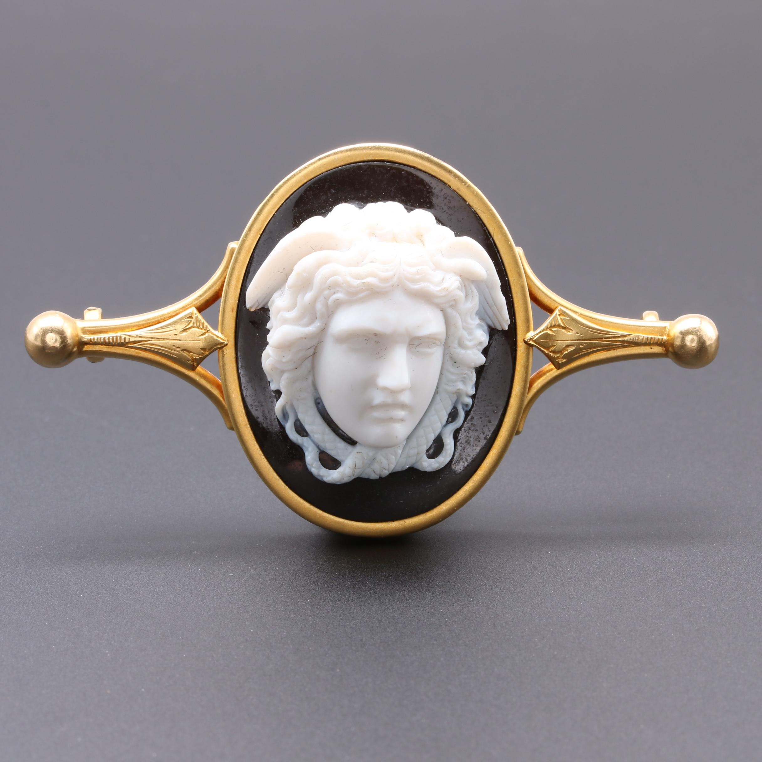 Victorian 14K Yellow Gold Onyx Hermes Cameo Brooch