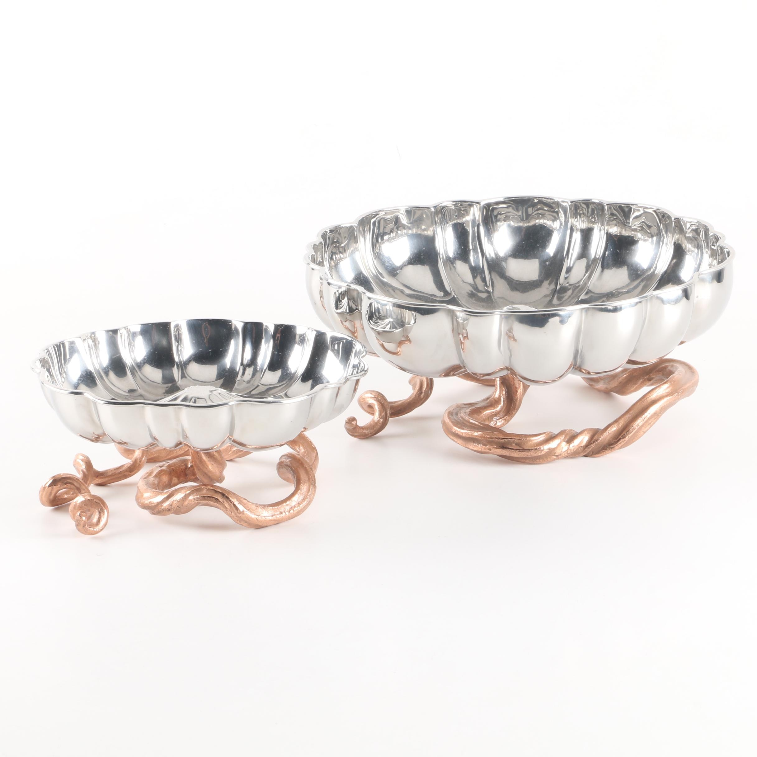 Silver-Toned Metal Gourd Bowls with Copper-Toned Vine Supports