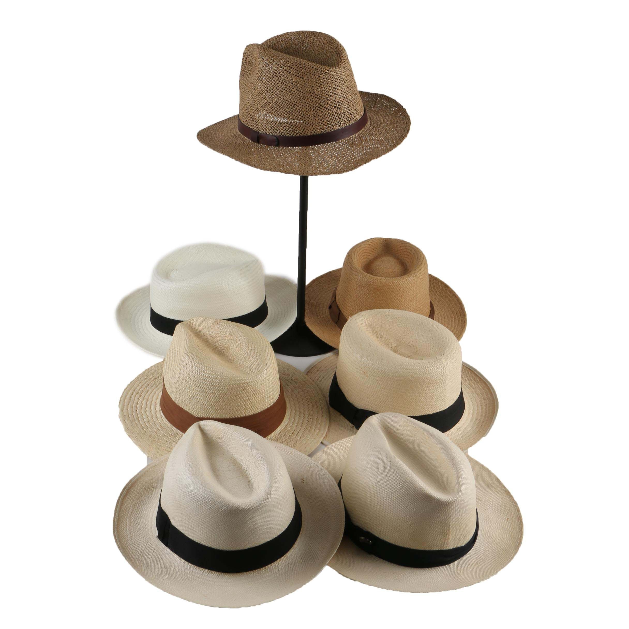 Men's Woven Straw and Panama Style Hats Including Bailey and Marks & Spencer