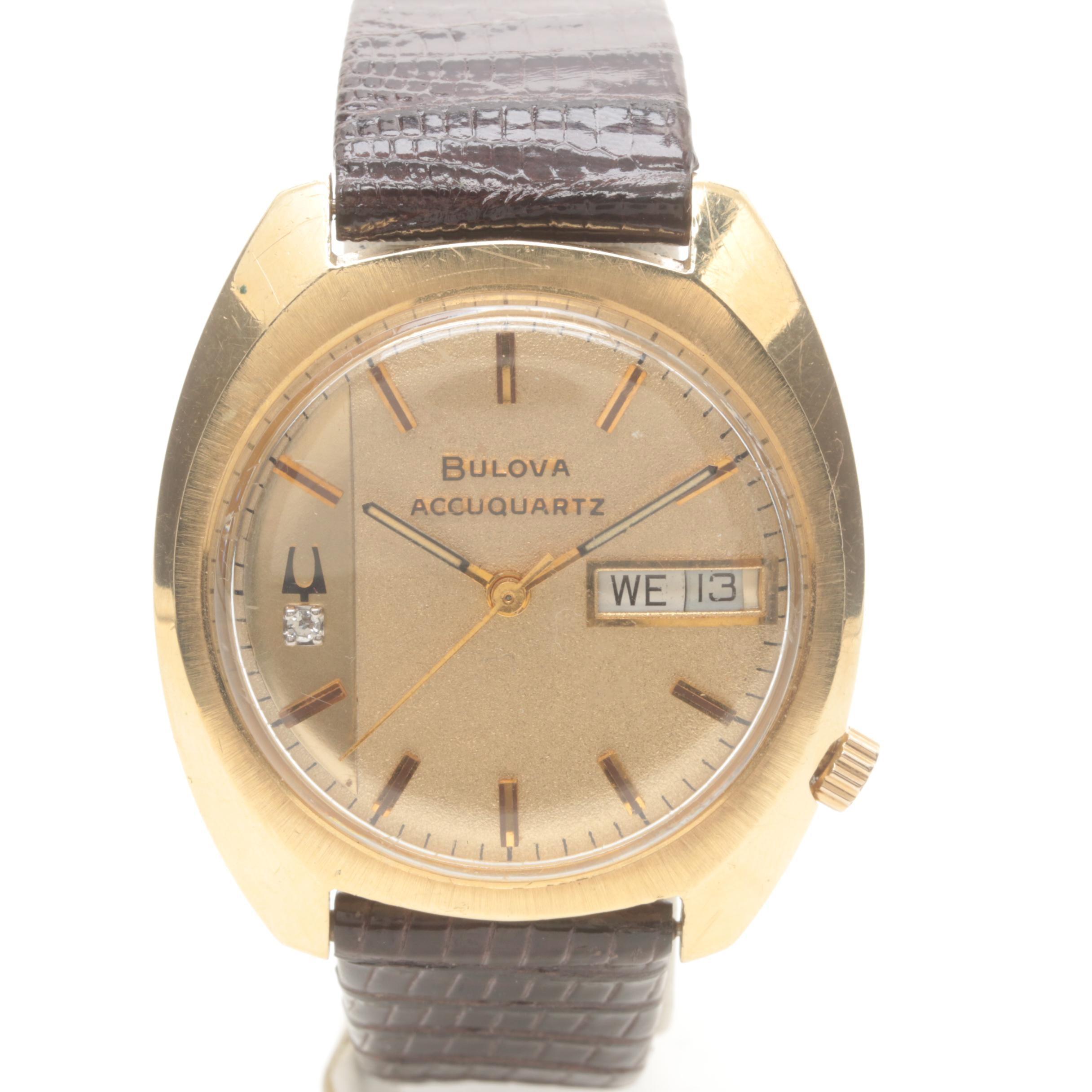 Bulova 14K Yellow Gold and Stainless Steel Diamond Wristwatch