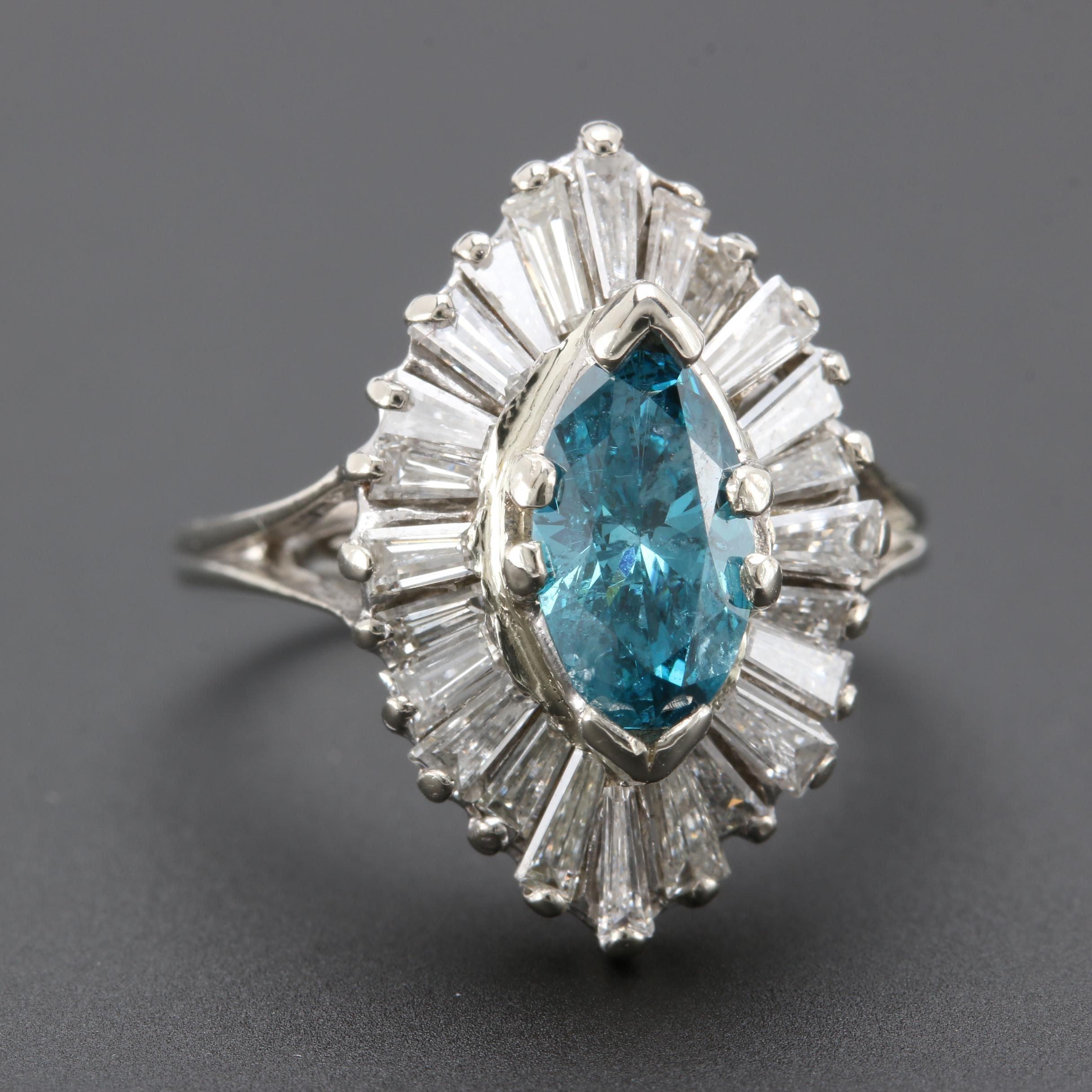 Vintage 14K White Gold 1.71 CTW Diamond Ring