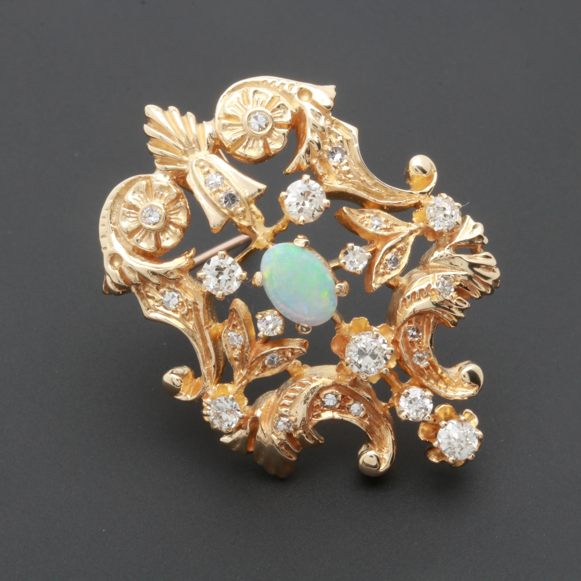 Vintage 14K Yellow Gold Opal and Diamond Converter Brooch