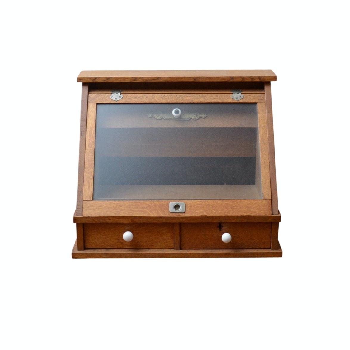 Antique Optometrist Oak Display Cabinet