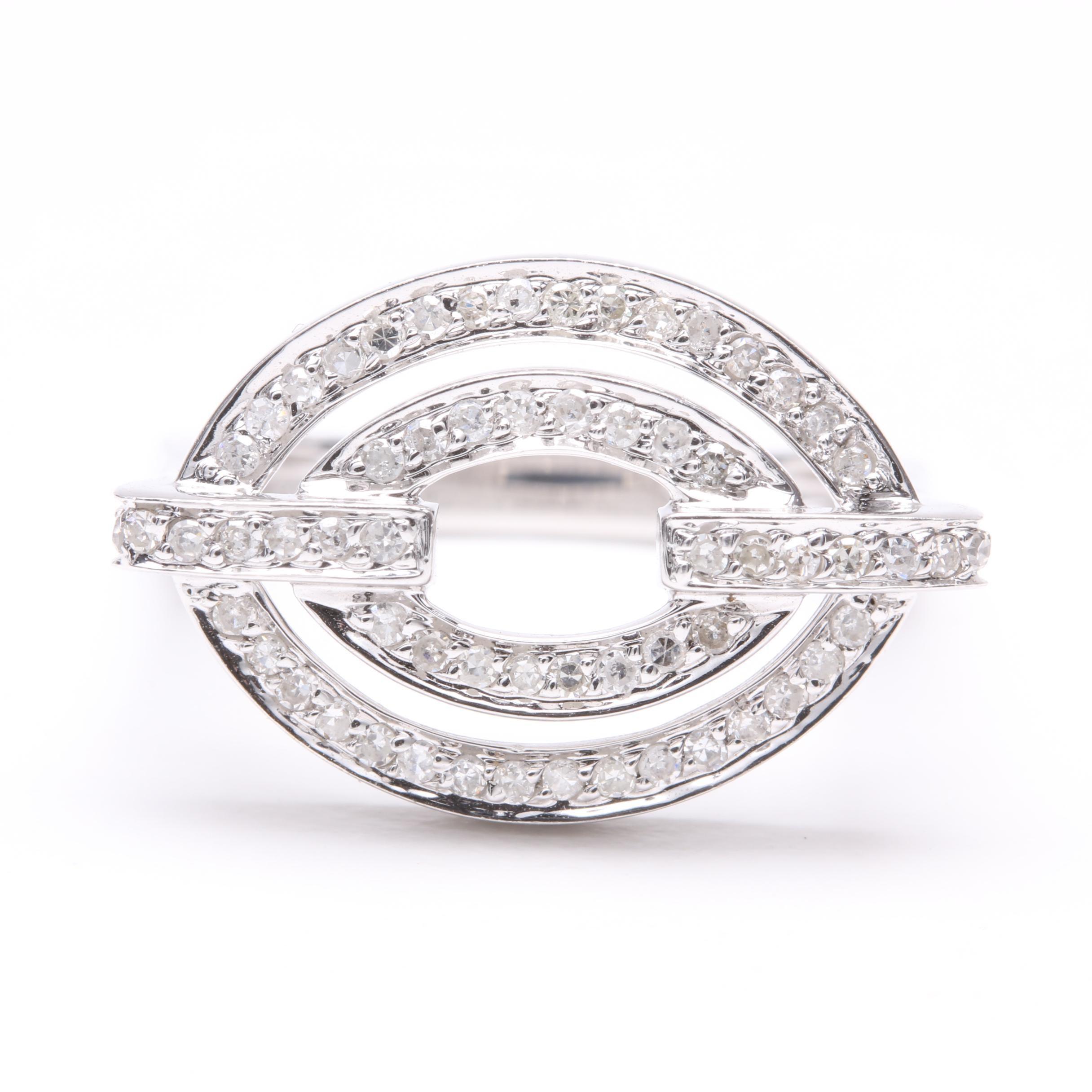 14K White Gold Diamond Squared Shank Ring