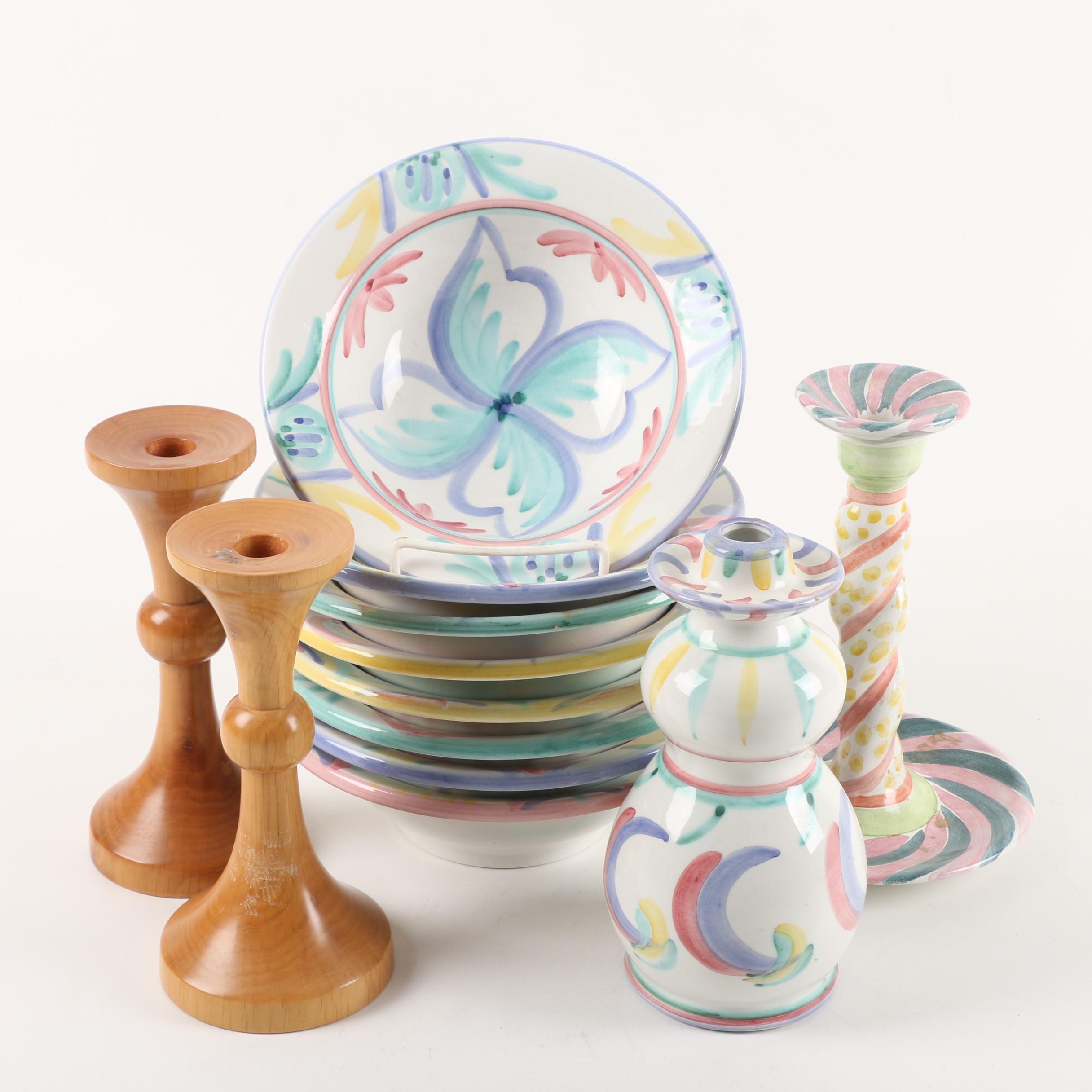 MacKenzie-Childs Candlestick with Vietri Italian Maiolica Style Tableware