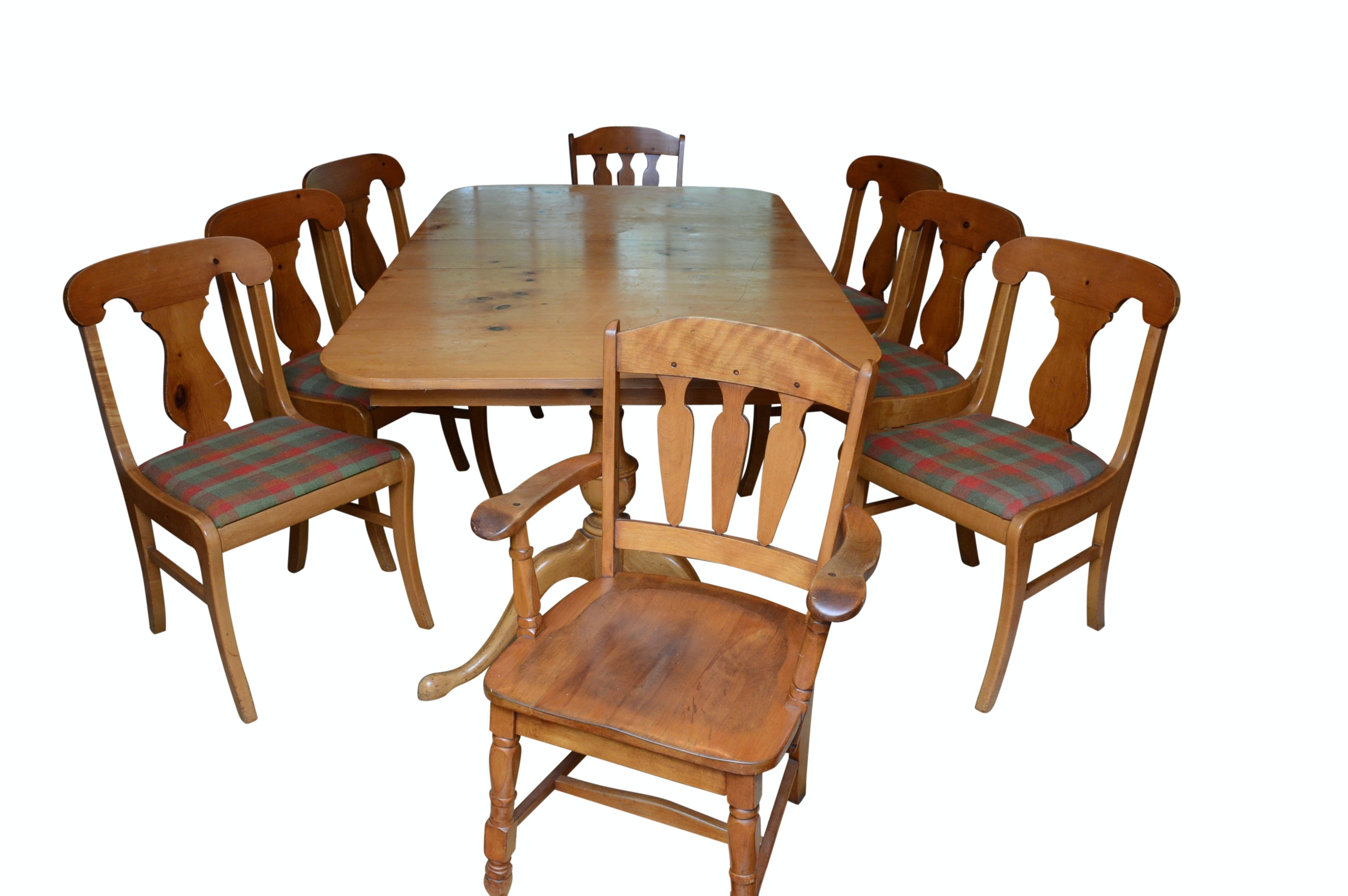 Pine Dining Table and Eight Chairs