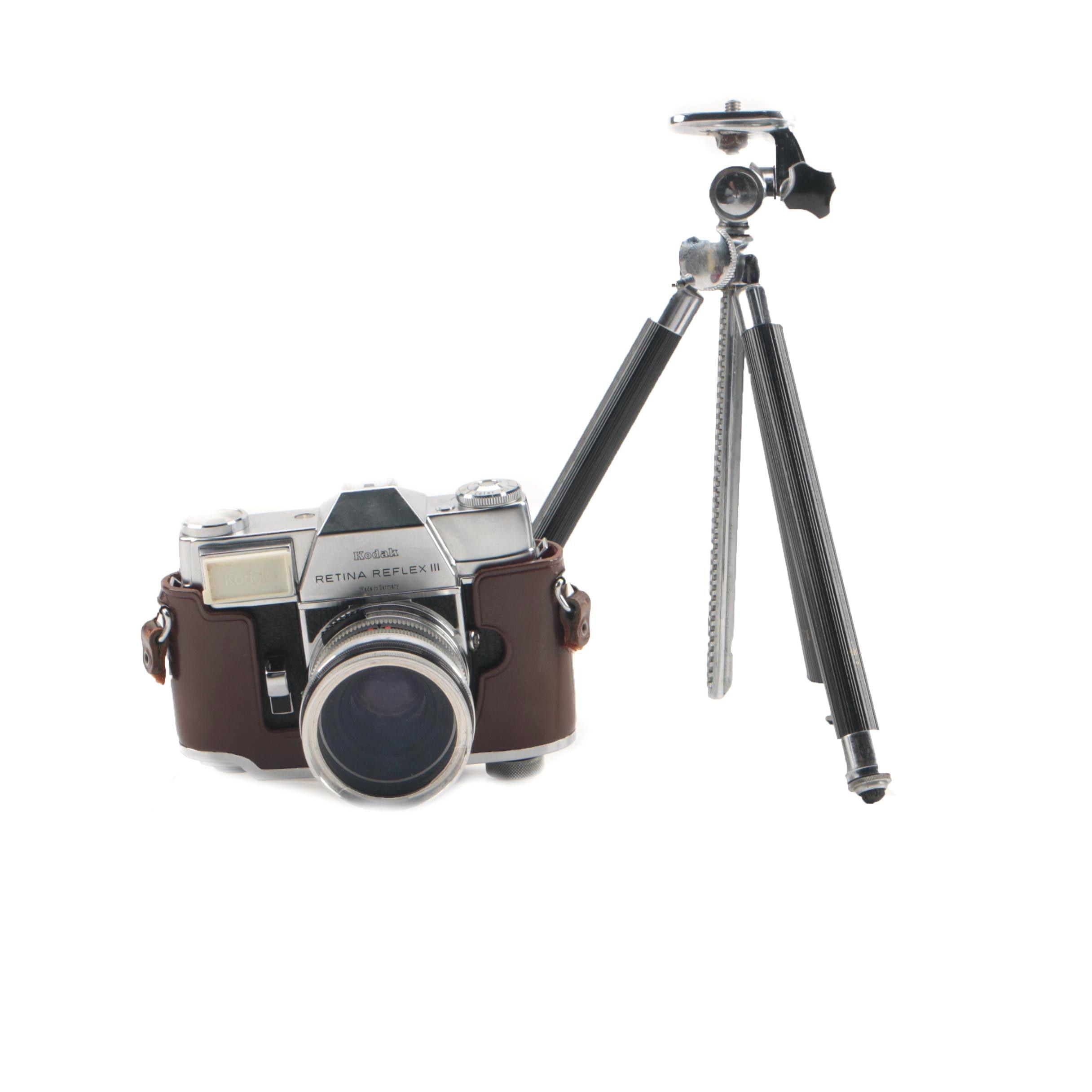 Kodak Retina Reflex III Camera and Tabletop Tripod
