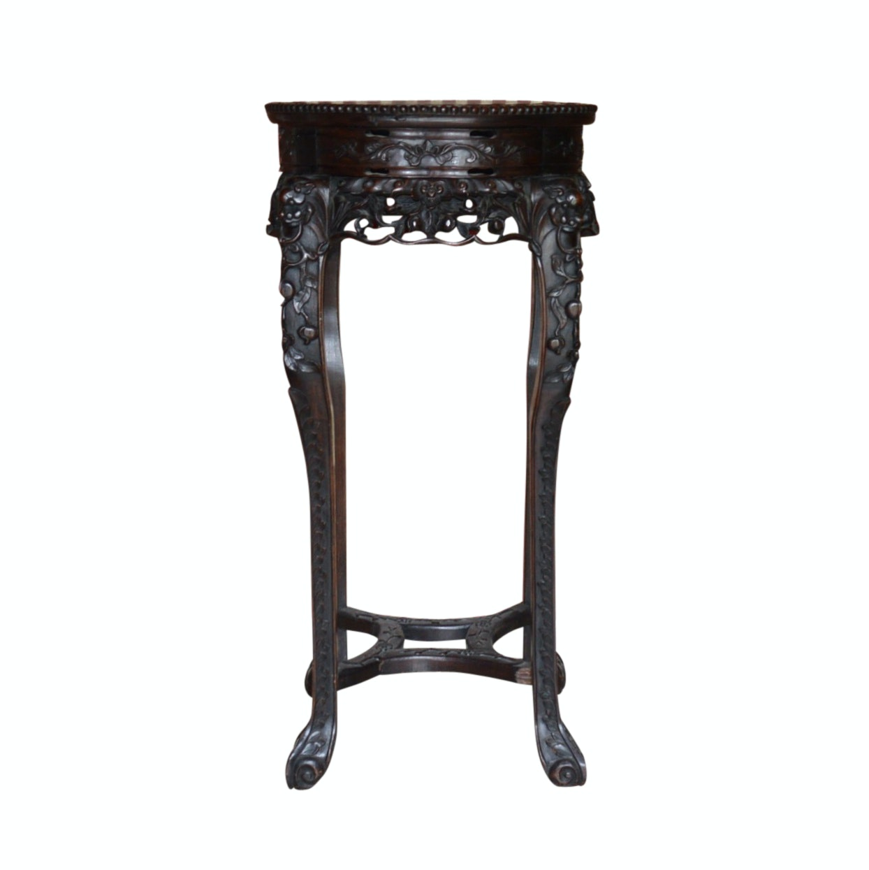 Chinese Hand-Carved Entry Table with Marble Top