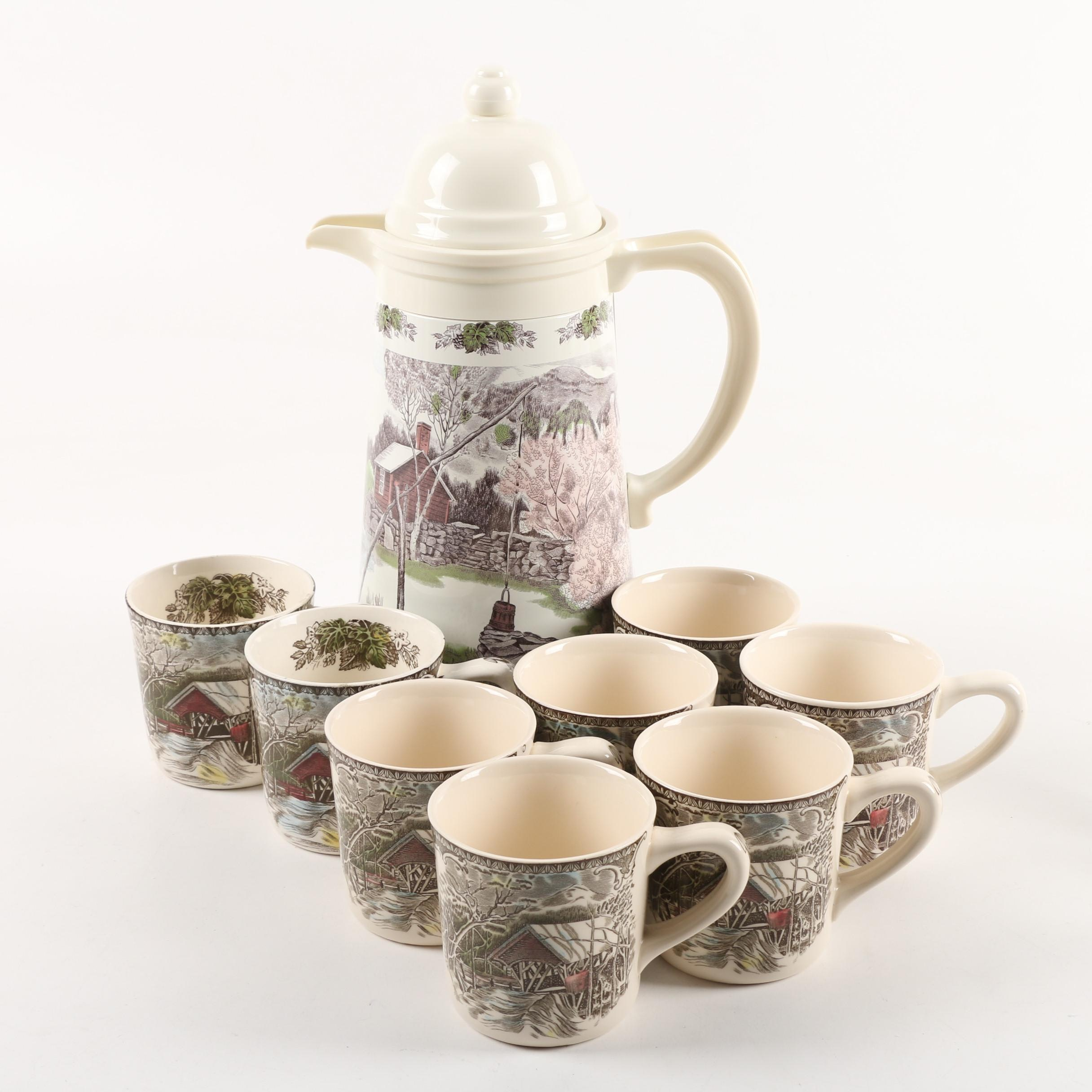"""Johnson Brothers """"The Friendly Village"""" Coffee Set With Thermal Carafe"""