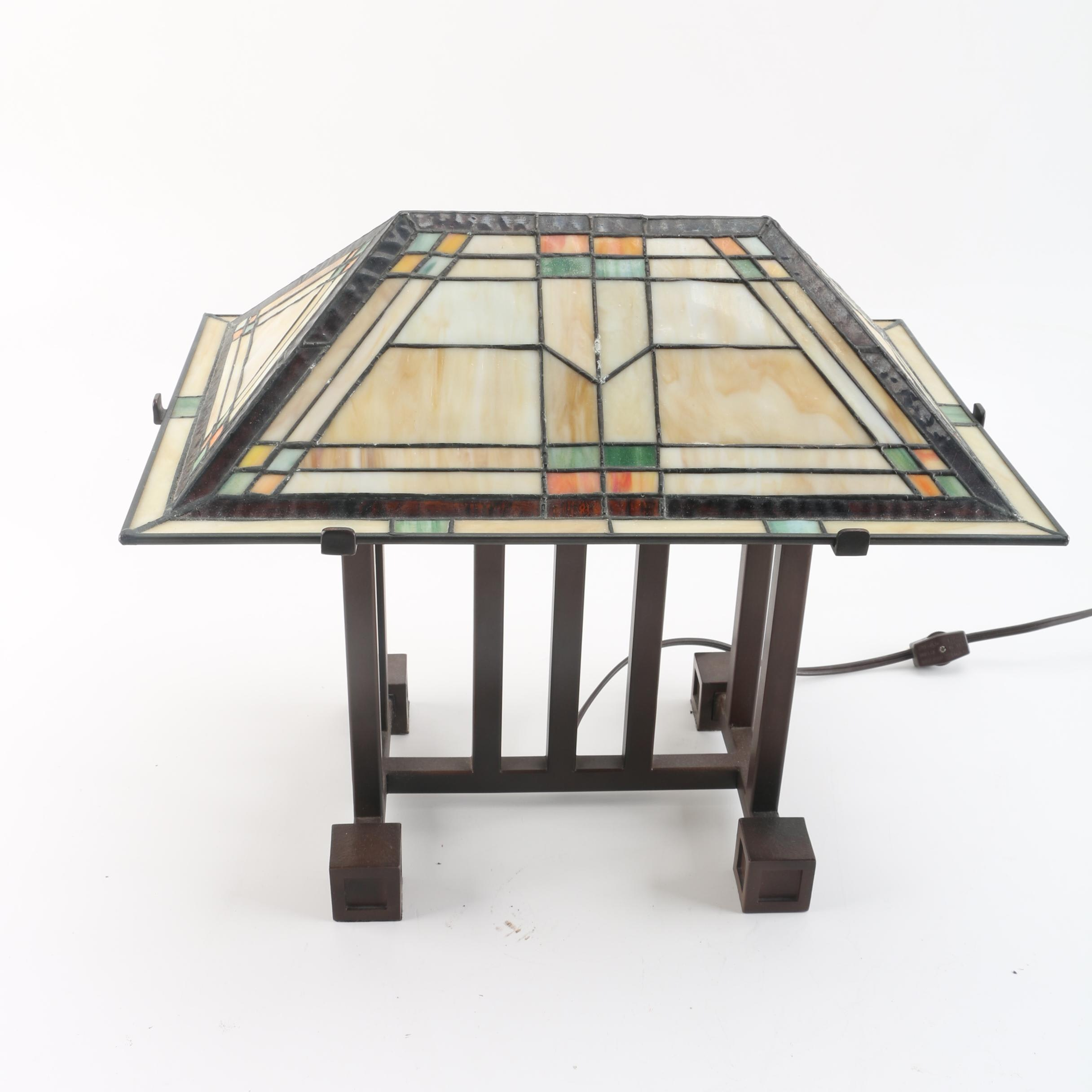 Contemporary Arts and Crafts Style Metal Table Lamp