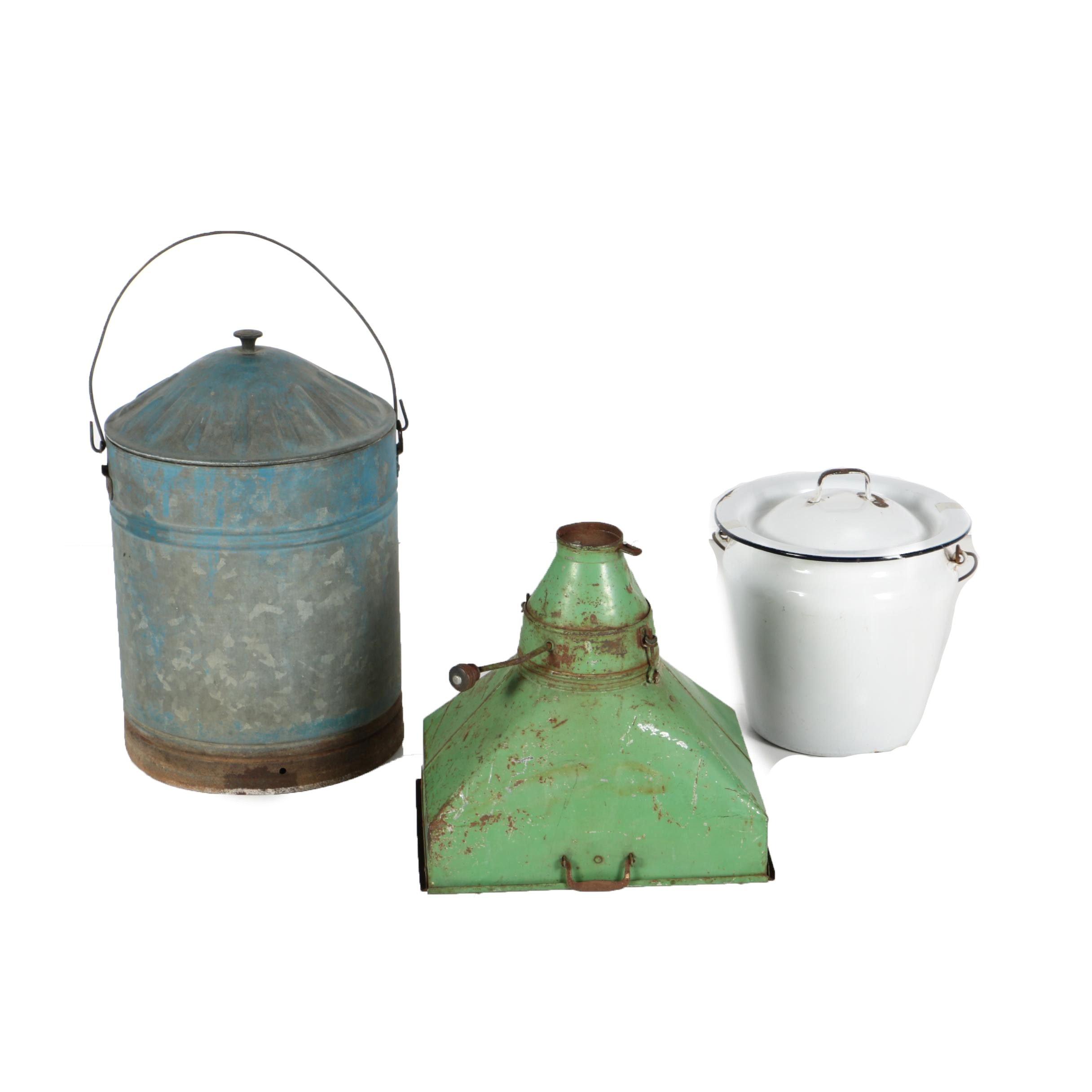 Enamel Pan, Commercial Sifter and Metal Jug