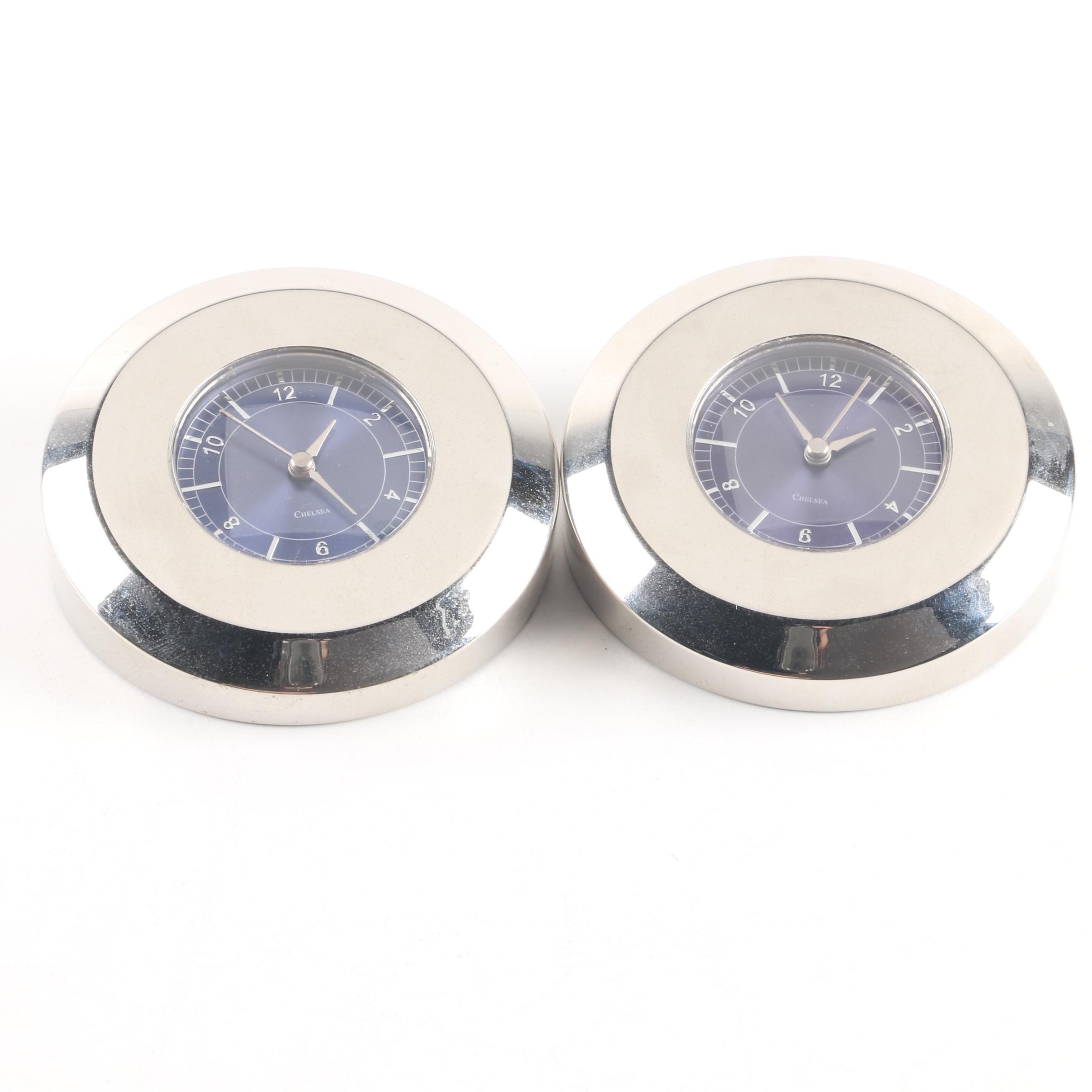 Chelsea Clock Co. Nickel Paperweight Clocks