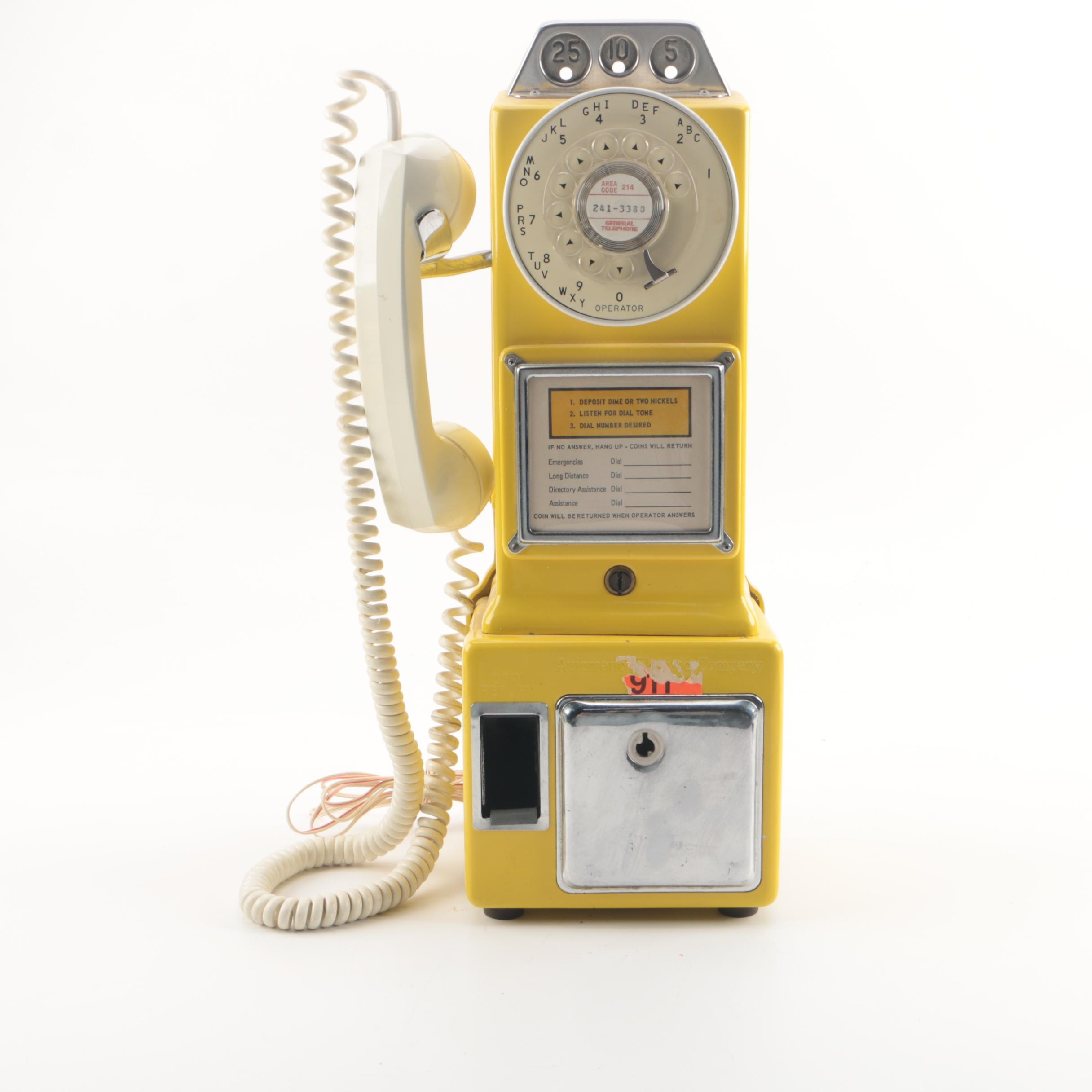 Yellow Enameled Vintage Metal Pay Phone