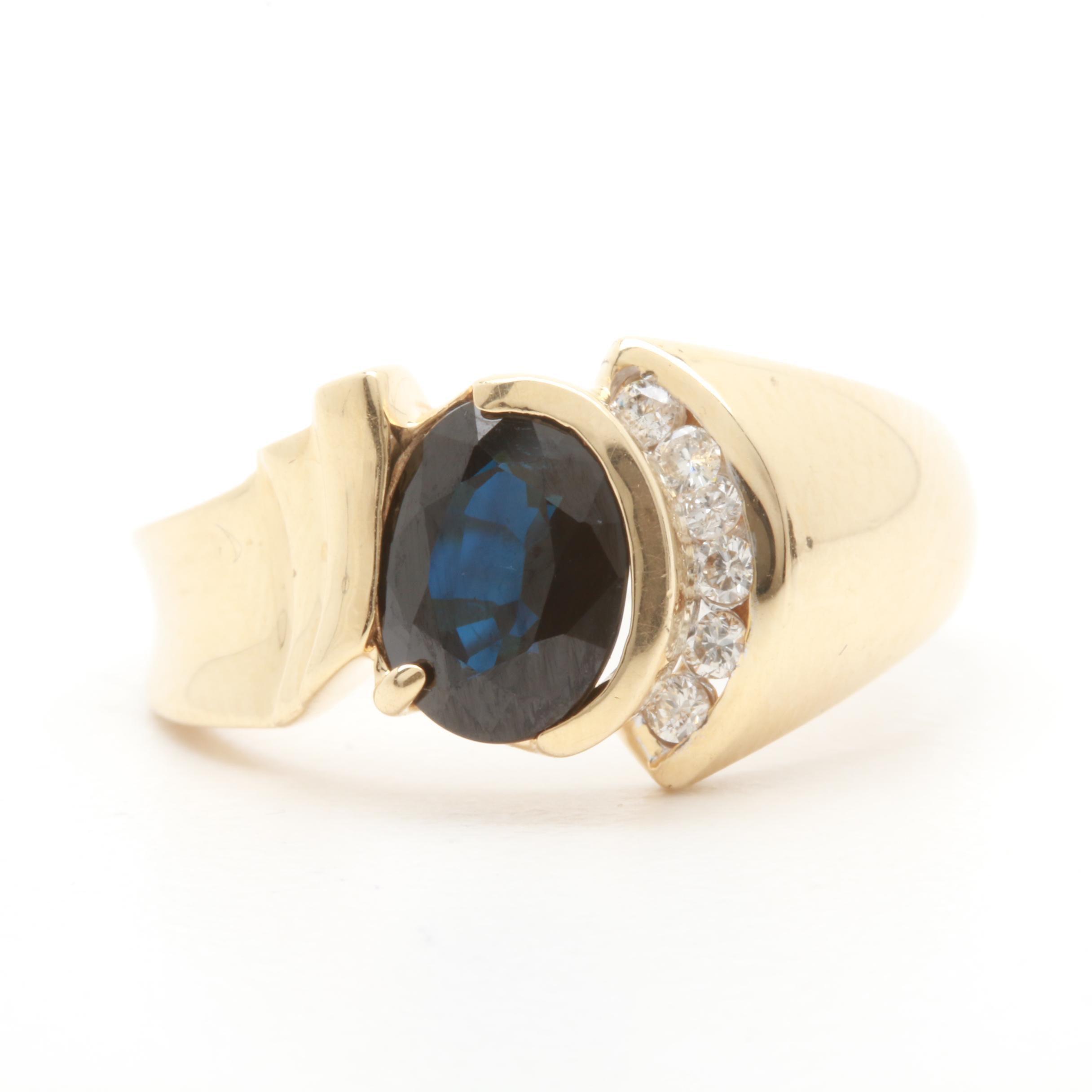 14K Yellow Gold Blue Sapphire and Diamond Ring