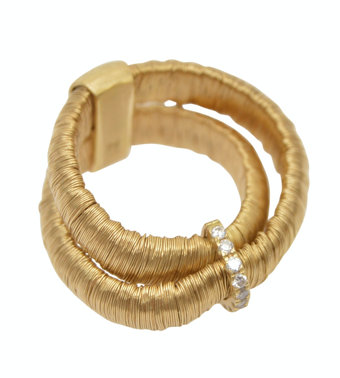 Yvel 18K Yellow Gold Diamond Wrapped Wire Double Ring