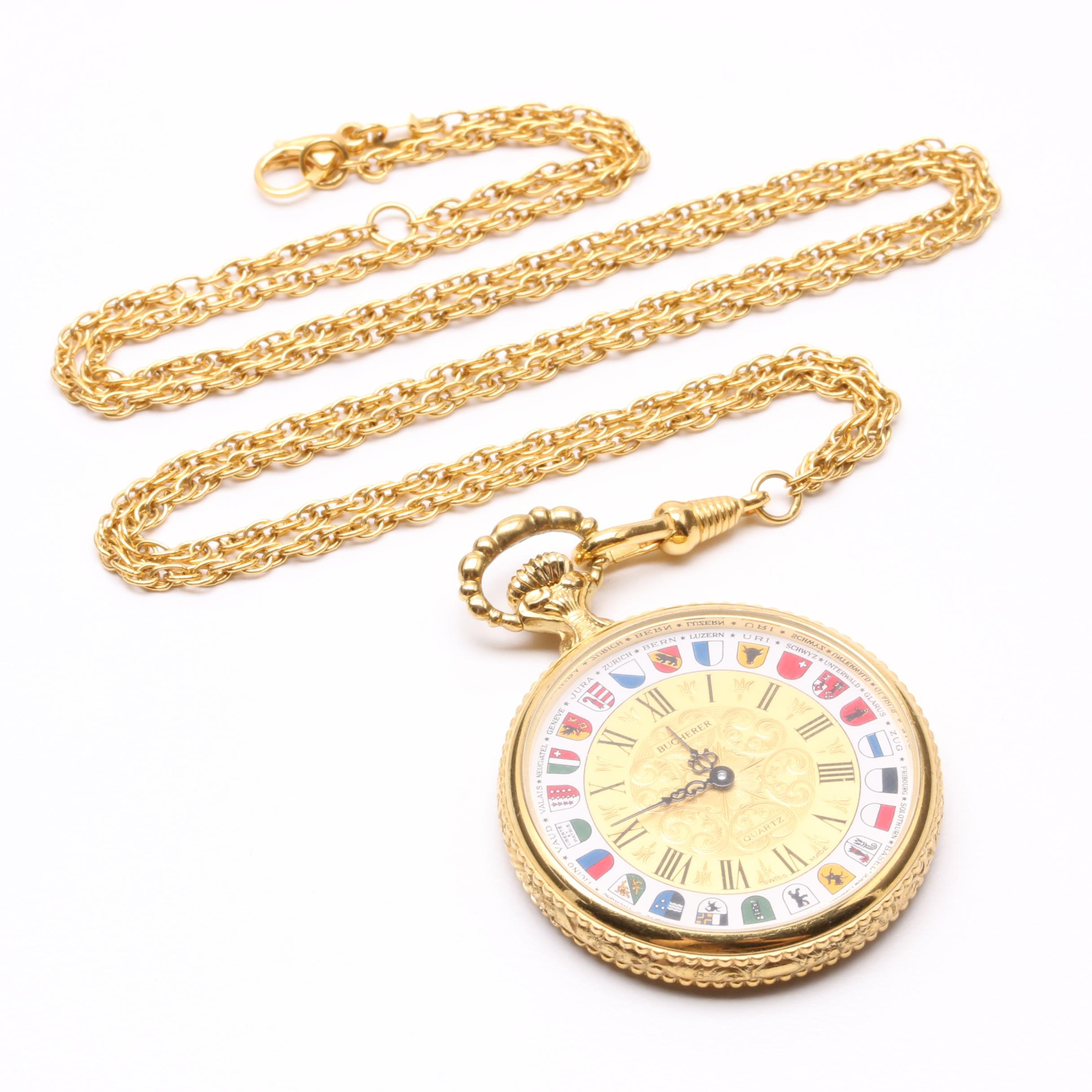 Bucherer Gold-Tone Worldwide Flag Pocket Watch with Chain