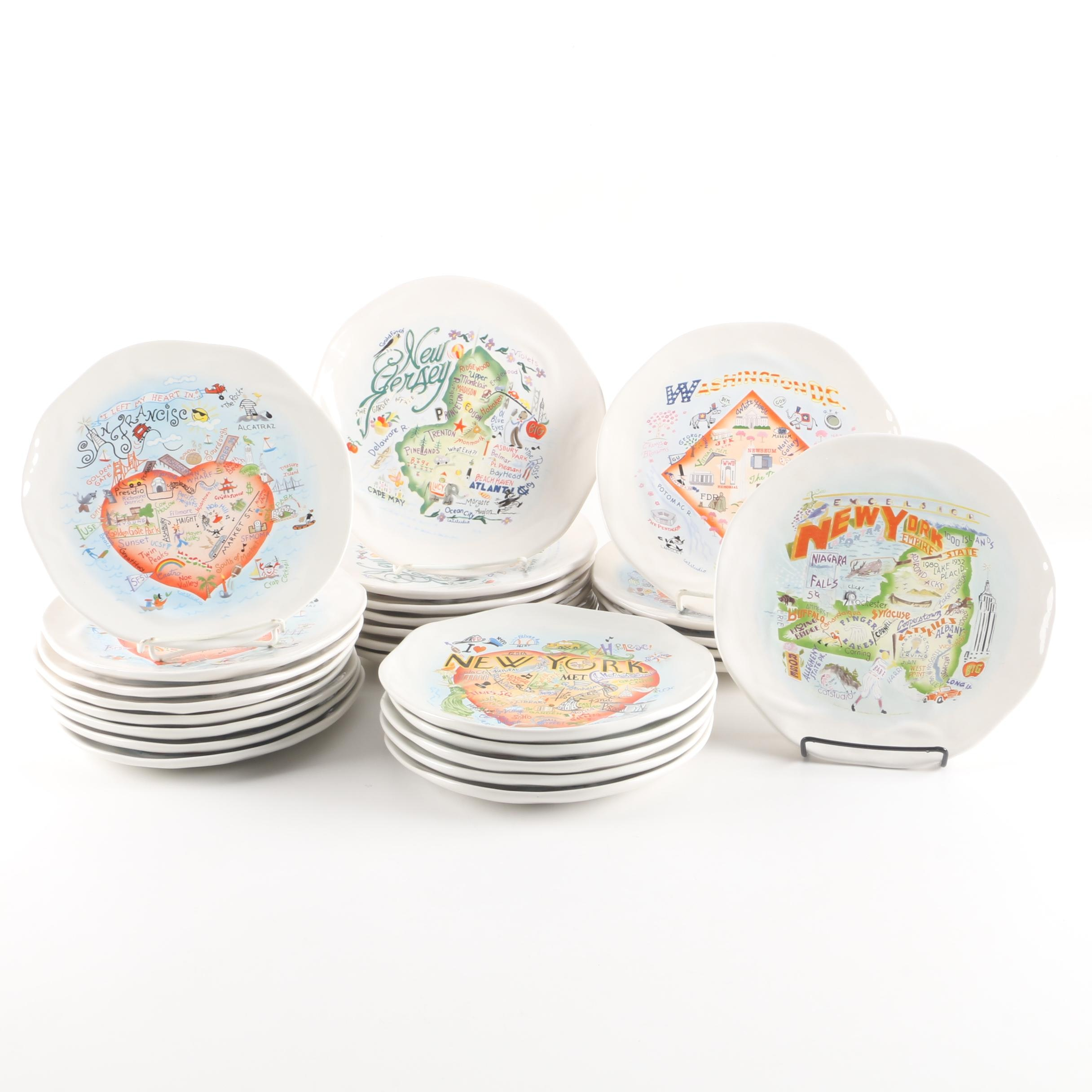 Catstudio Ceramic Geography Themed Collector Plates