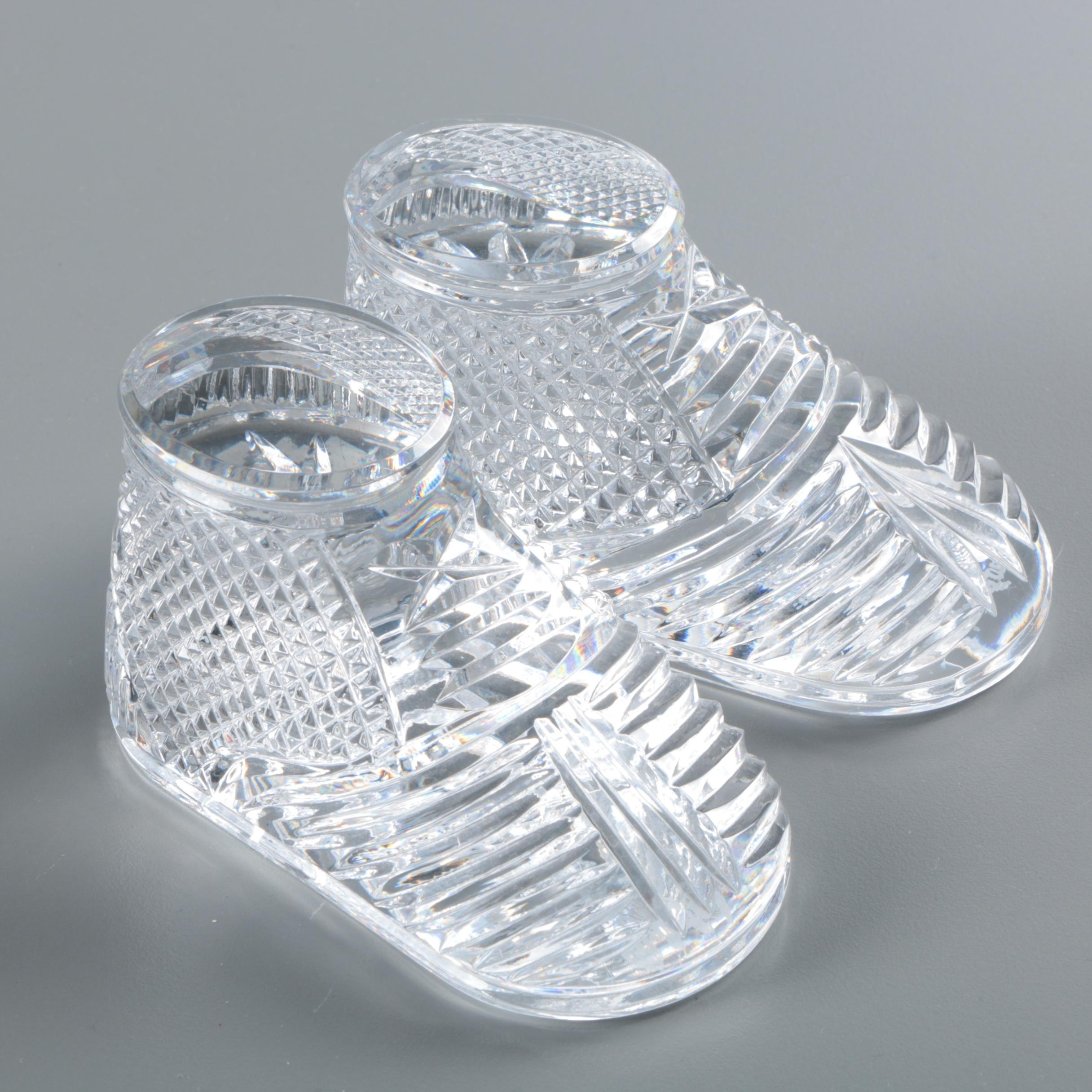 Waterford Crystal Baby Bootie Paperweights
