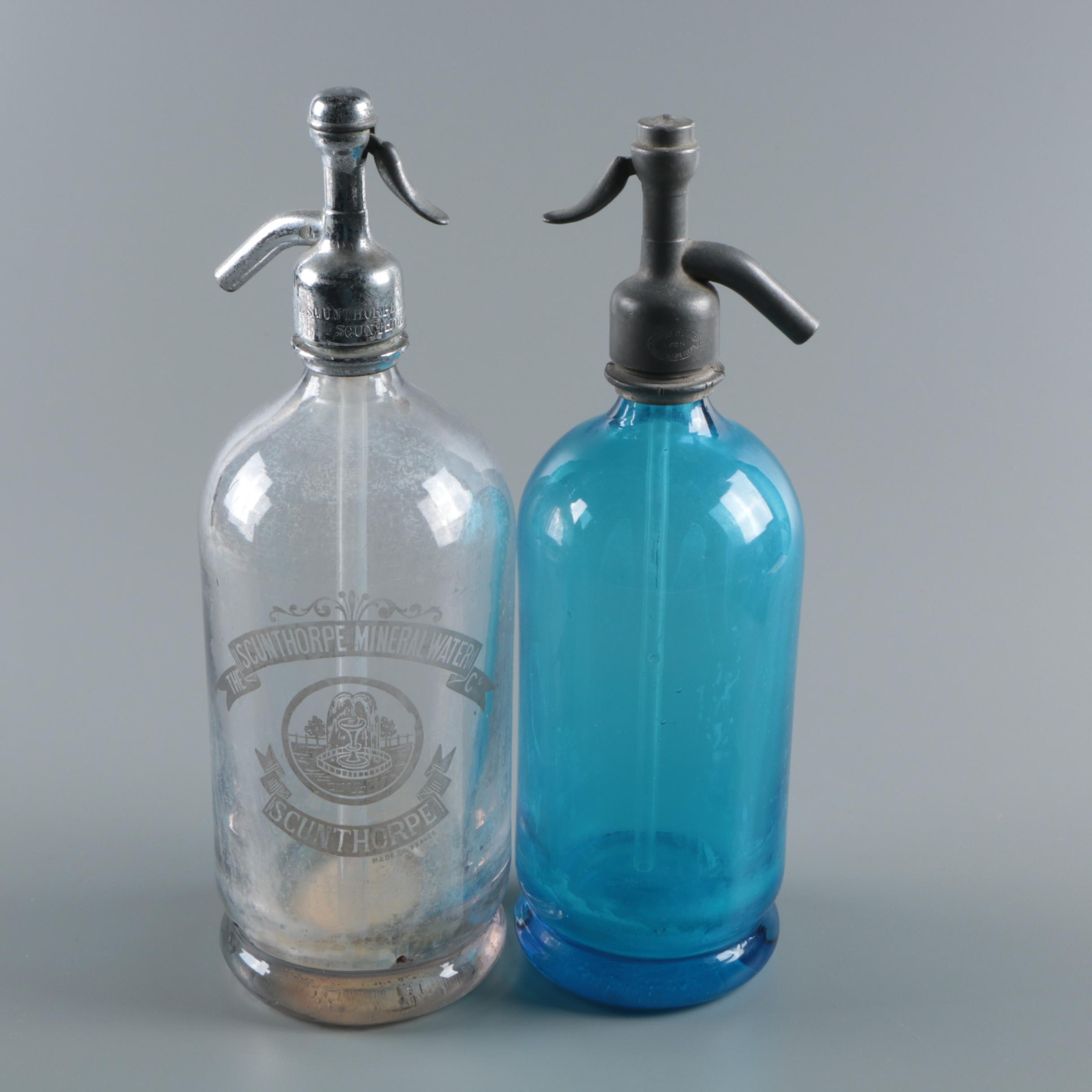 Vintage Glass and Metal Seltzer Bottles