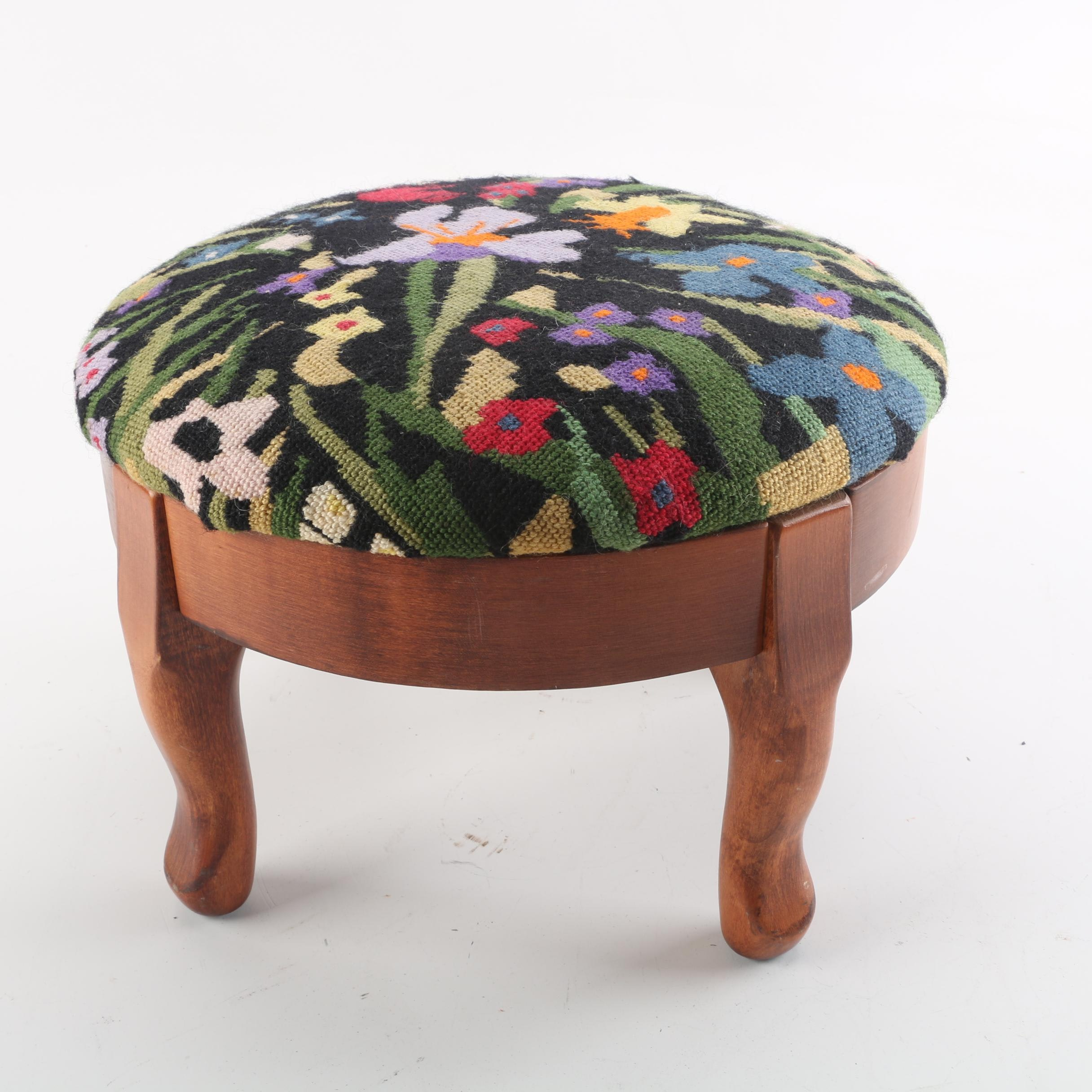 Paxton Products Needlepoint Footstool With Cotton Felt Upholstery