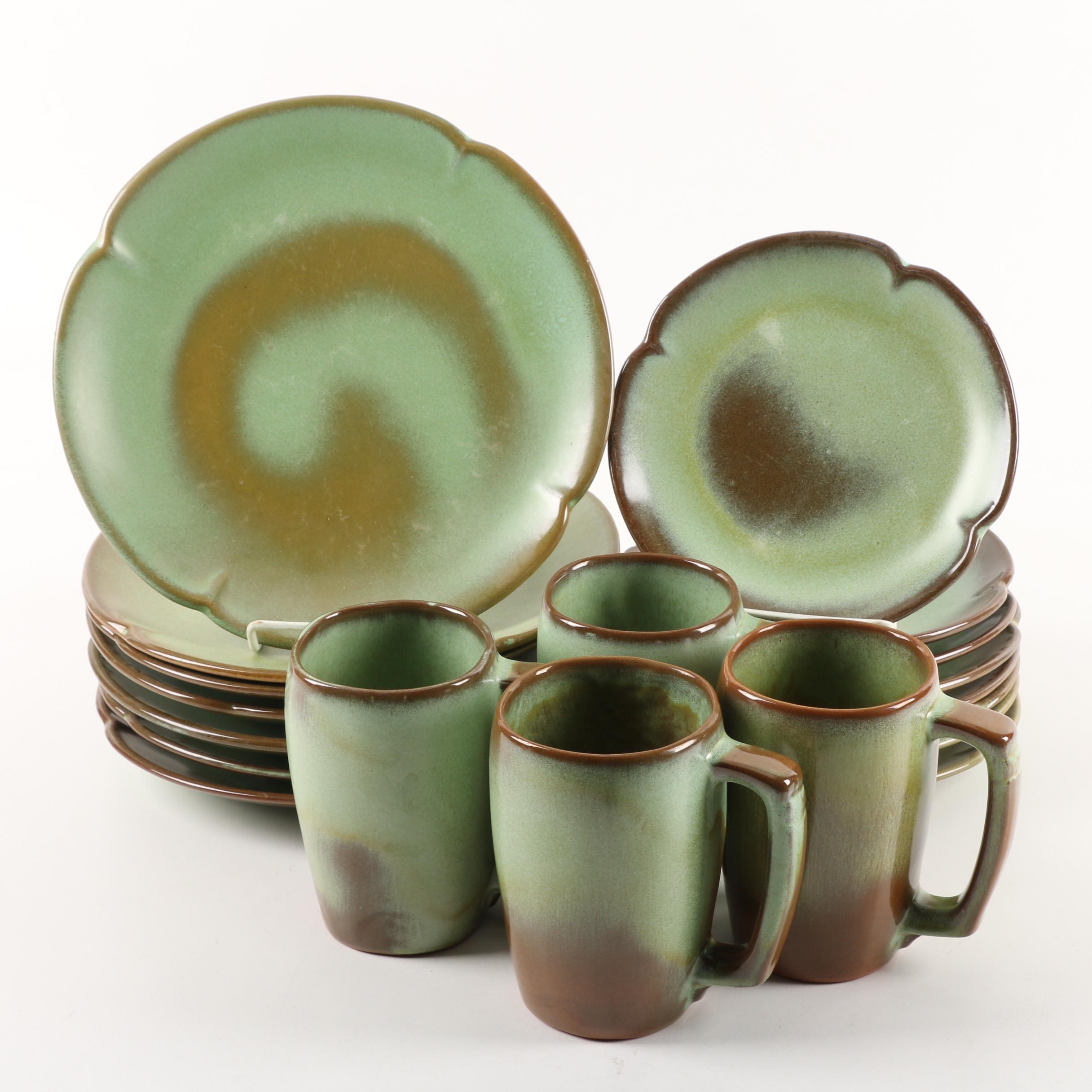 "Vintage Frankoma Pottery ""Prairie Green"" Dinnerware"
