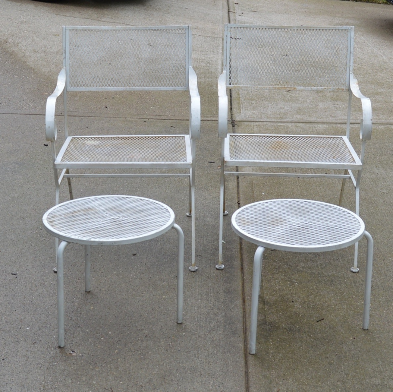 Pair of Patio Chairs with Tables