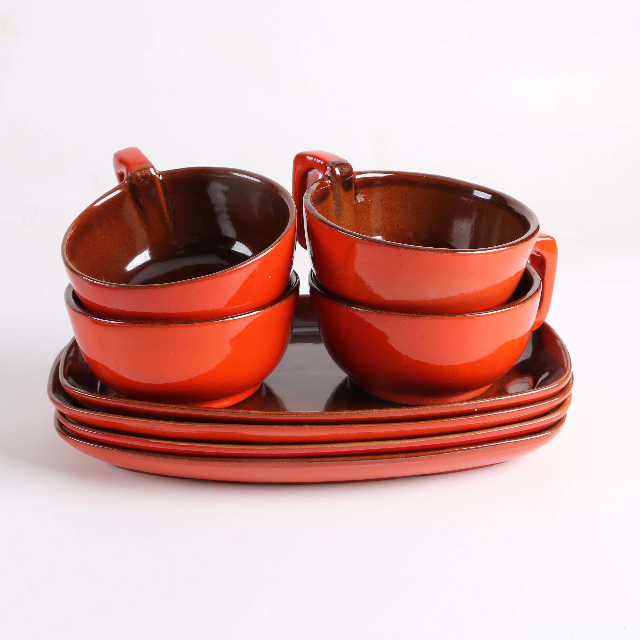 """Vintage Frankoma Pottery """"Flame Red"""" Mugs and Platters"""