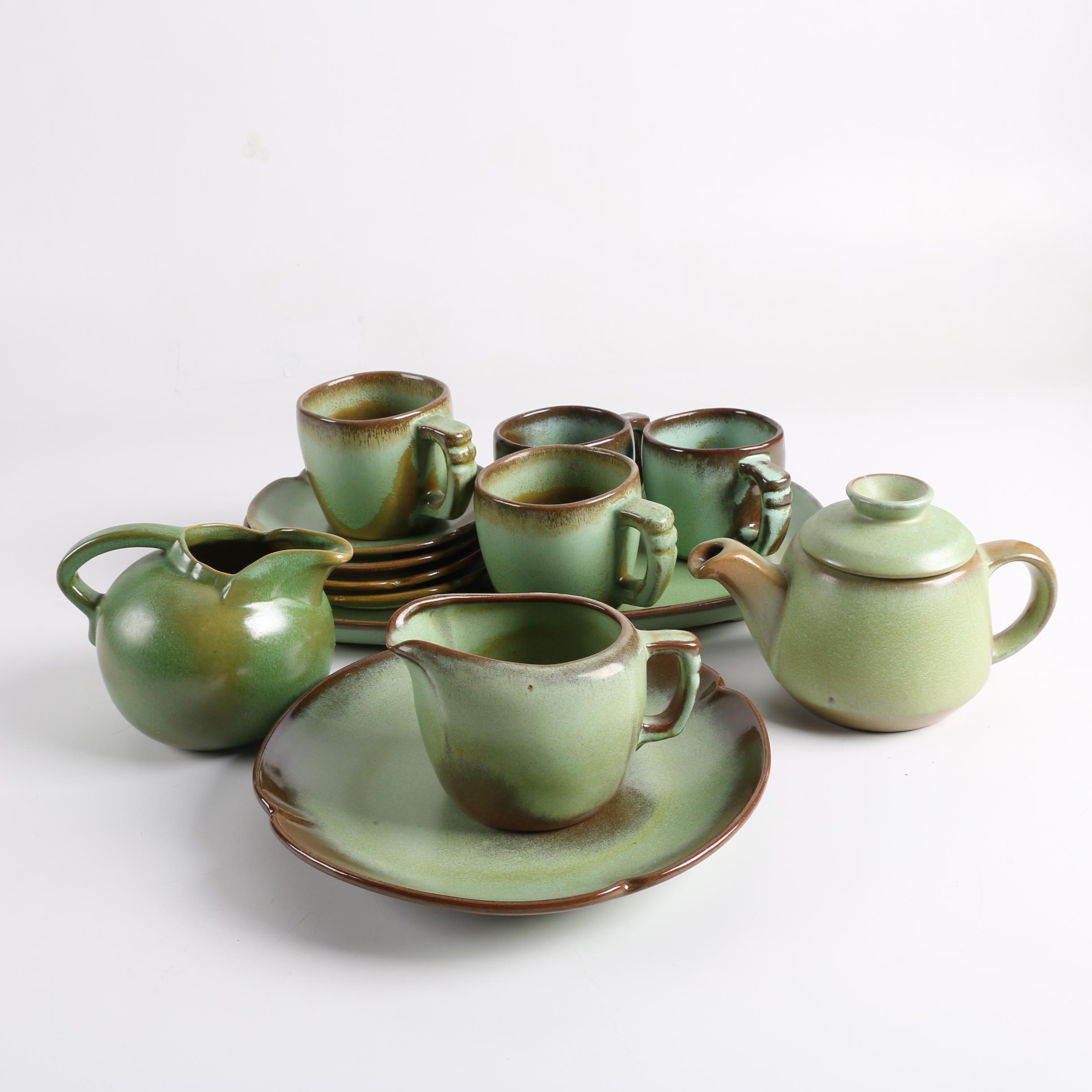 """Vintage Frankoma Pottery """"Prairie Green"""" Tea Service"""
