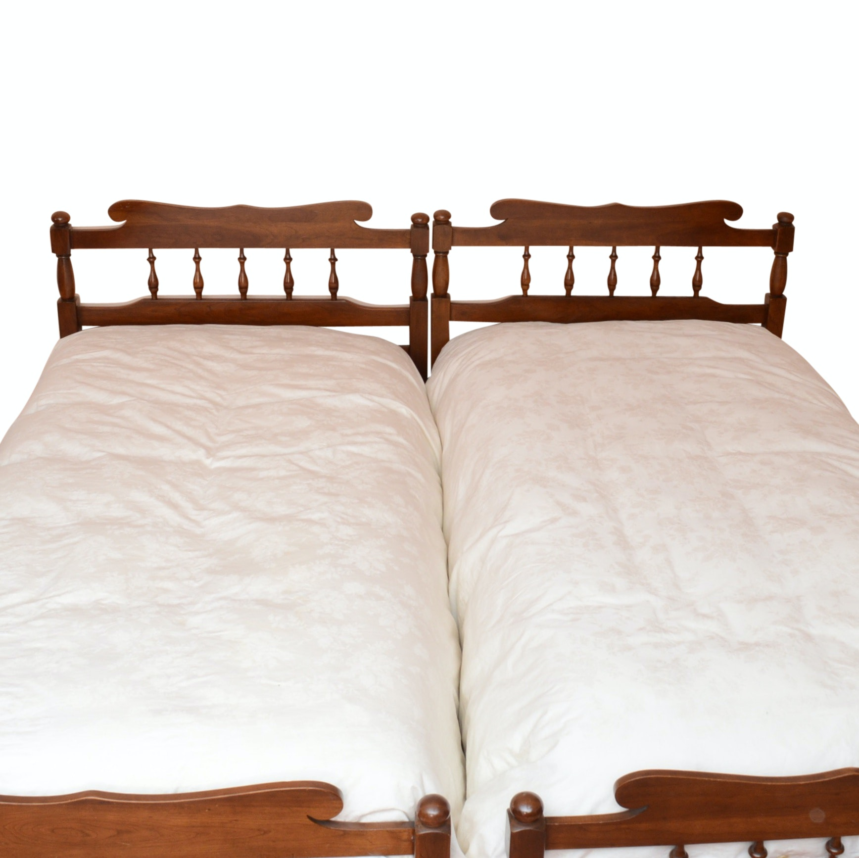Pair of Solid Cherry Wood Twin Bed Frames