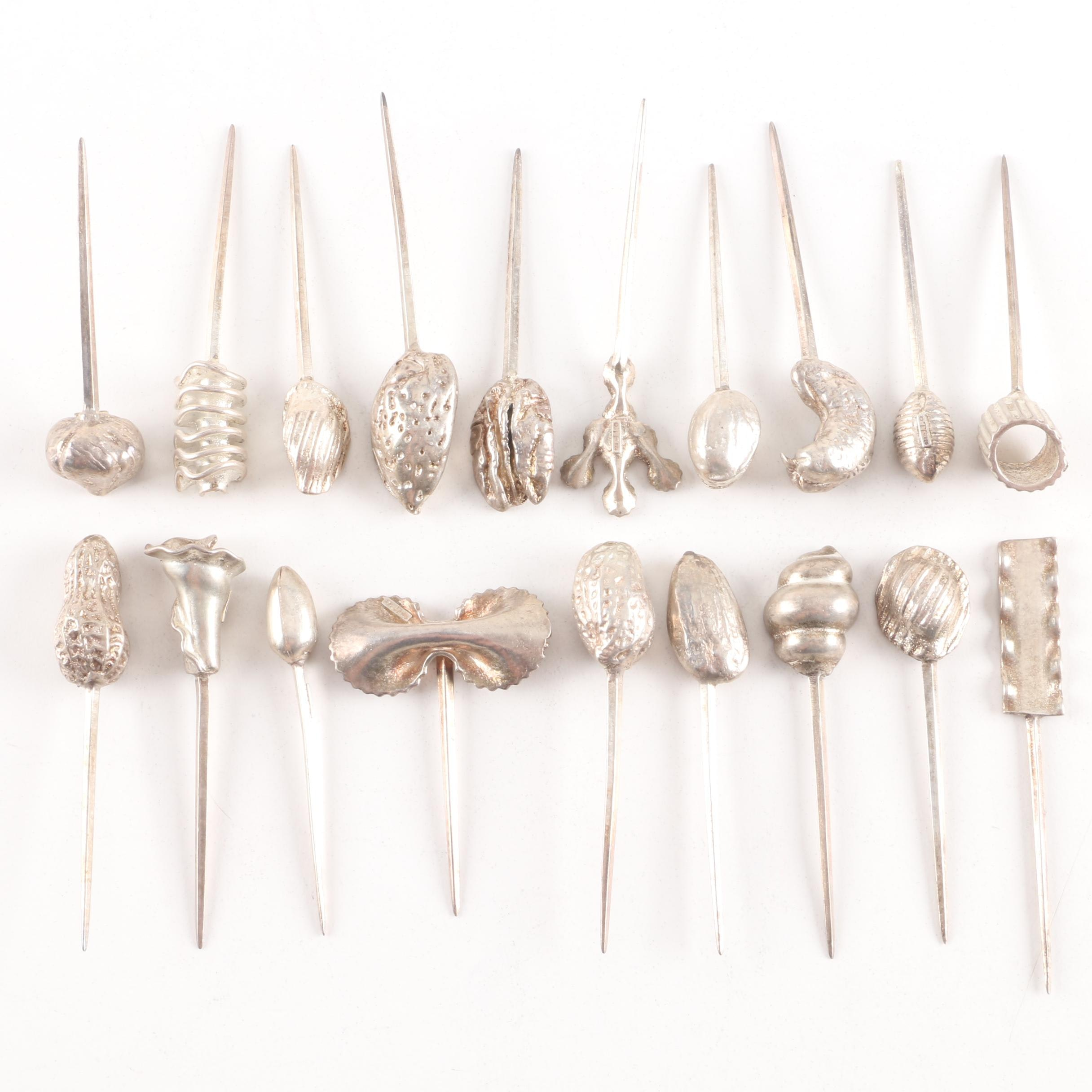 Tavolina Fina Weighted Sterling Silver Figural Cocktail Picks