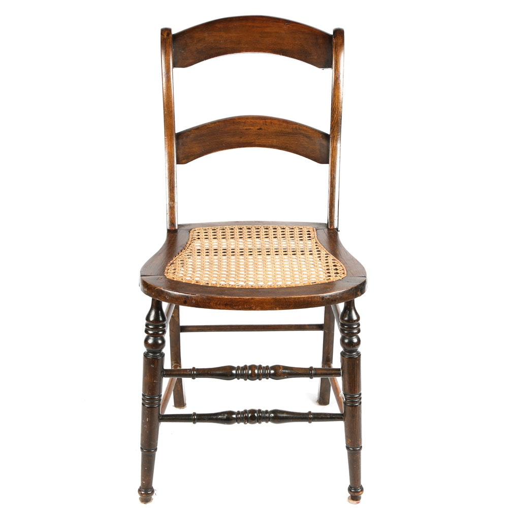 Antique Ladderback Chair with Caned Seat