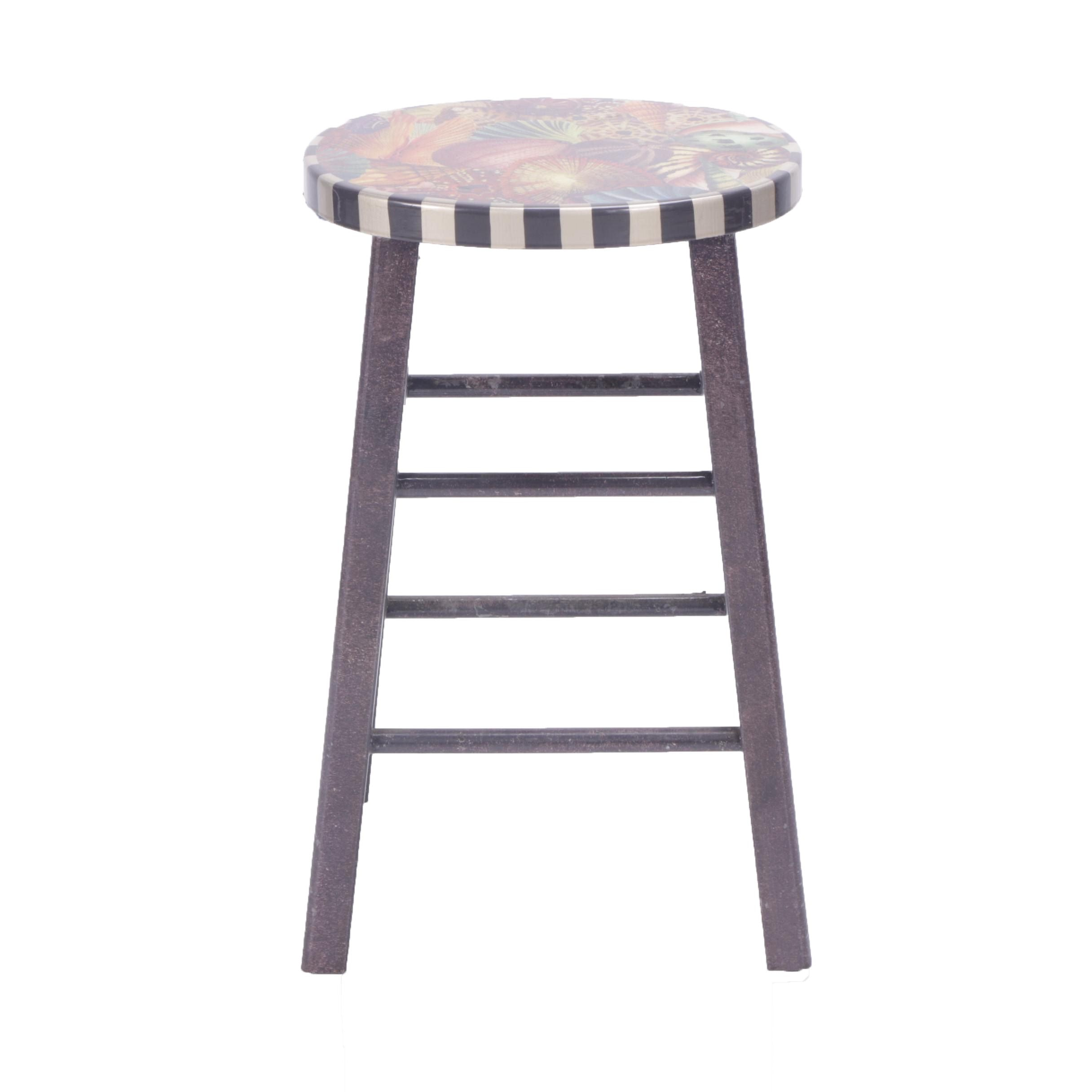 """Annie Modica """"Conchology"""" Painted Stool"""
