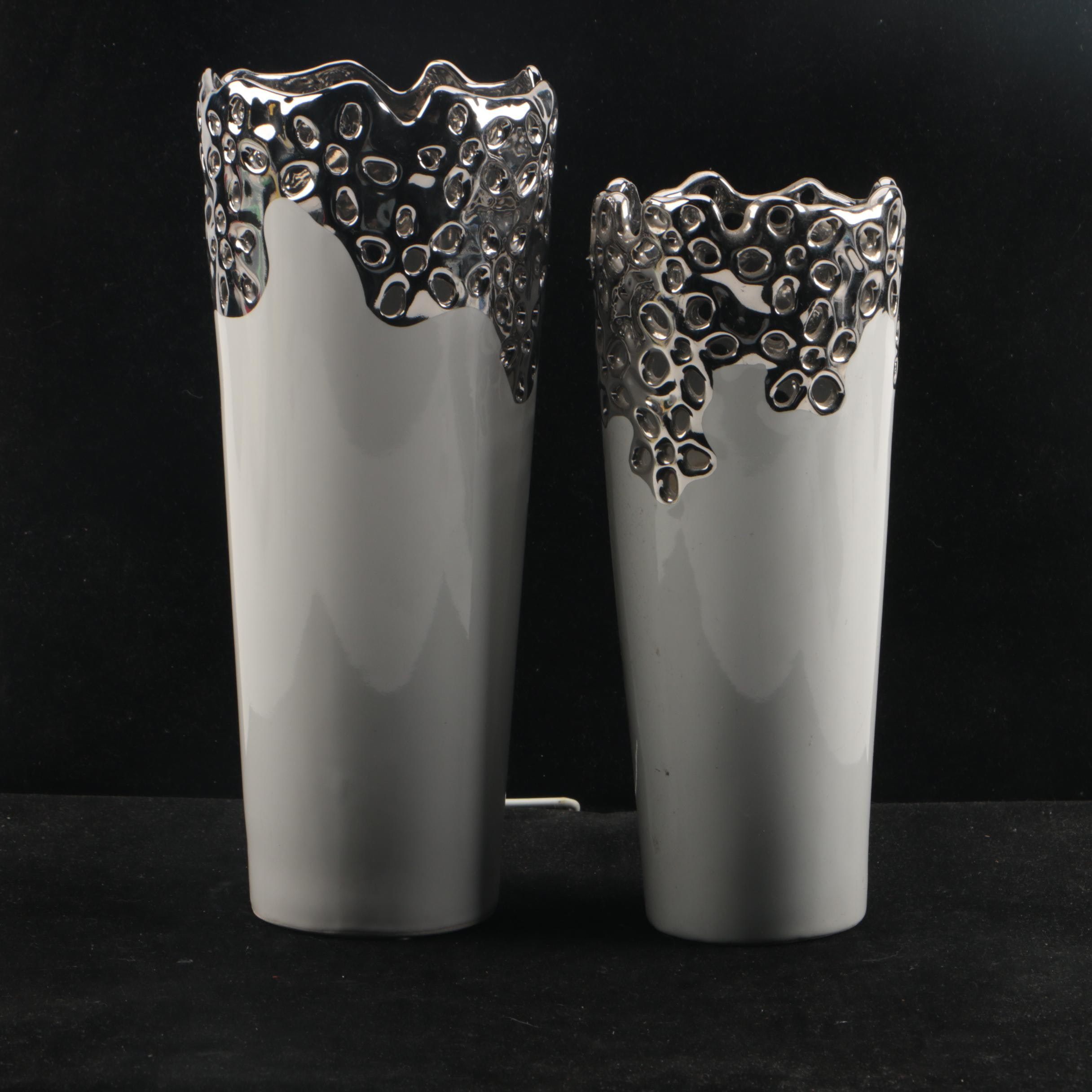 Contemporary Reticulated Ceramic Vase Forms with Metallic Accents
