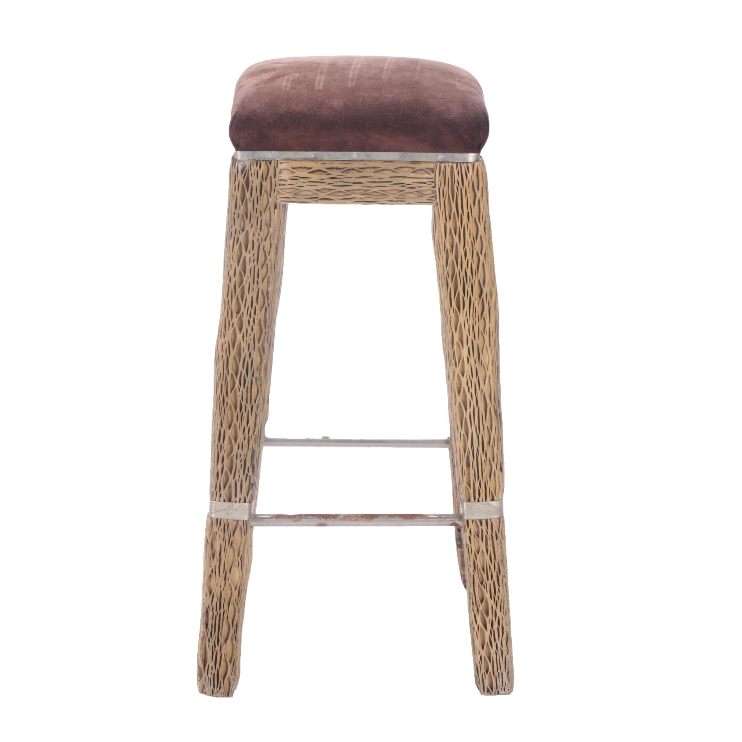 Contemporary Wood and Metal Barstool